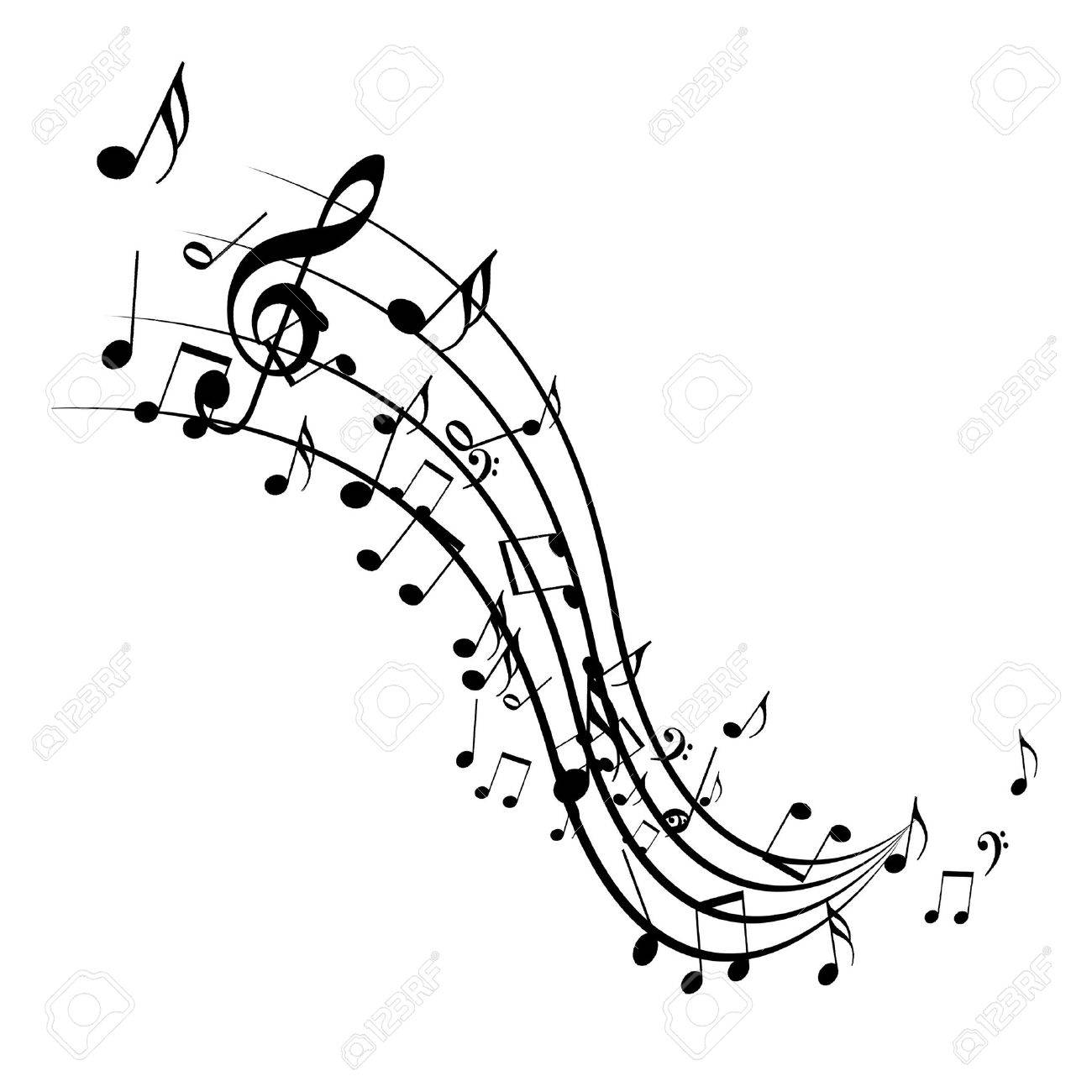 Black Music Notes Isolated On A Solid White Background