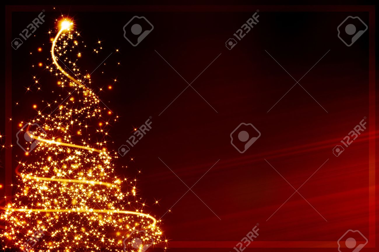 Xmas Greeting Card: Abstract Christmas Tree Formed By Blurred ...