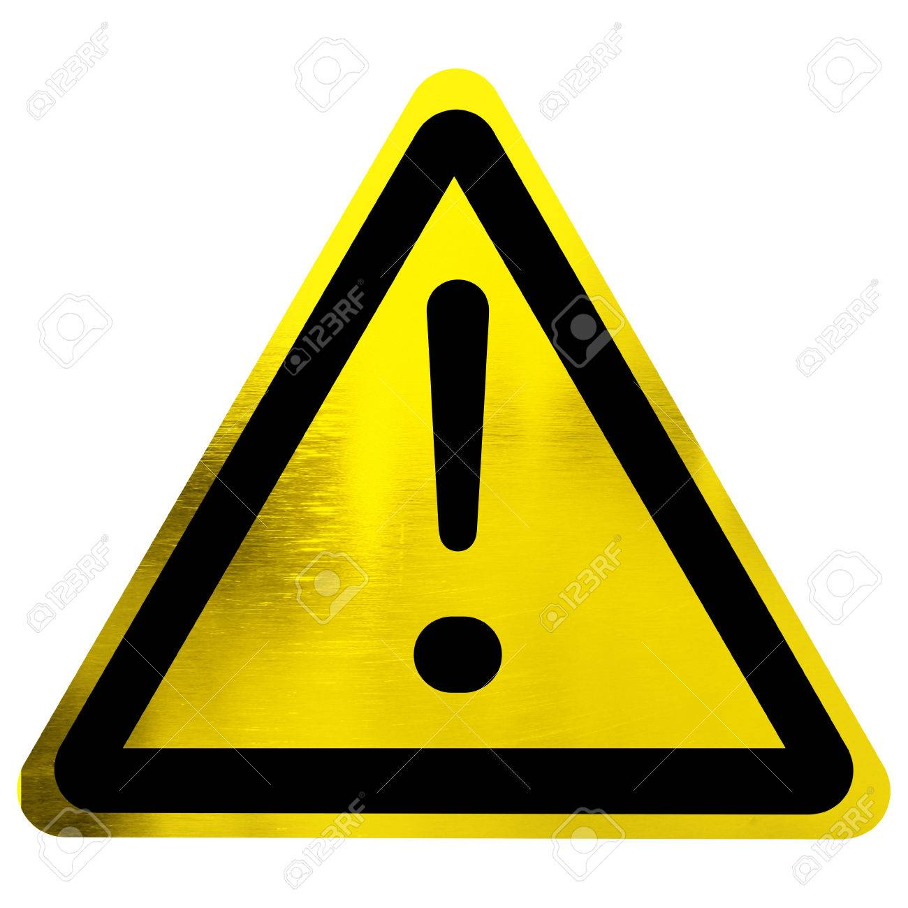 warning sign with exclamation mark isolated on a solid white background Stock Photo - 22619606