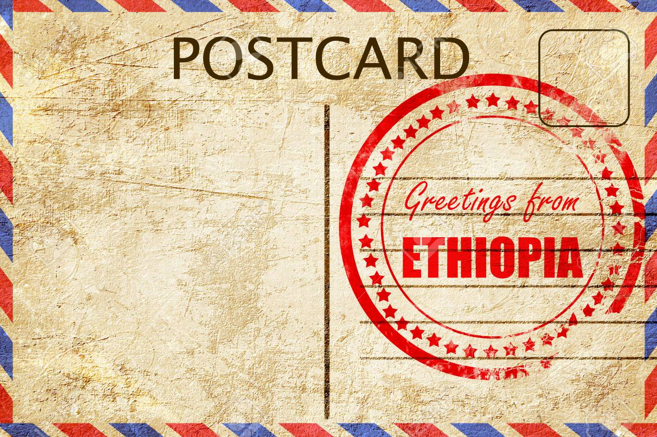 Greetings From Ethiopia Card With Some Soft Highlights Stock Photo