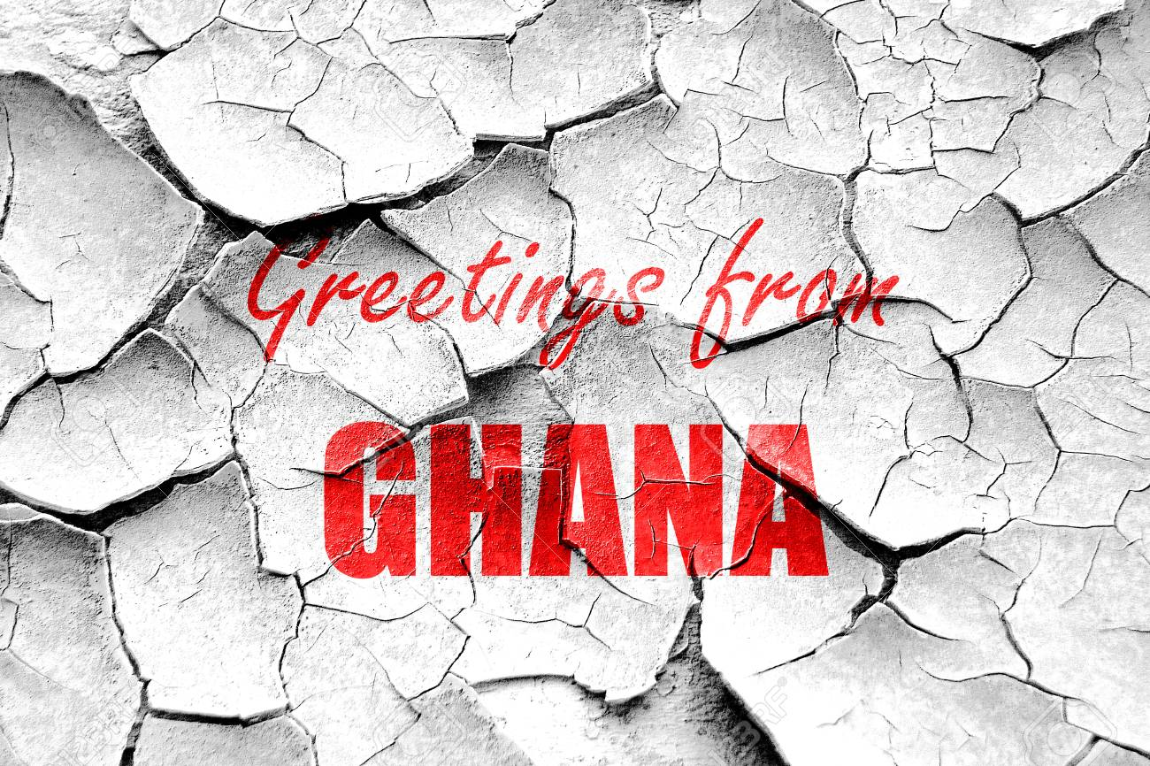 Grunge Cracked Greetings From Ghana Card With Some Soft Highlights
