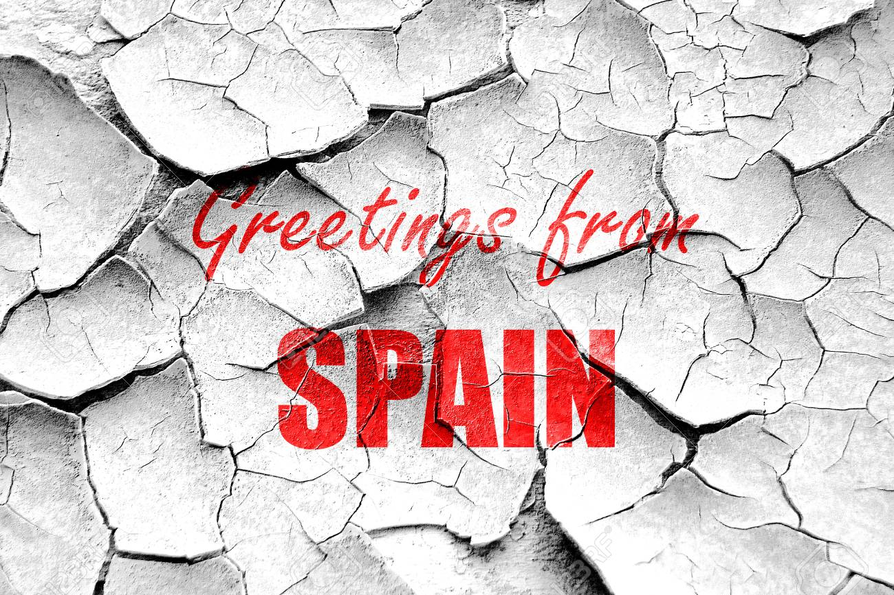 Grunge cracked greetings from spain card with some soft highlights grunge cracked greetings from spain card with some soft highlights stock photo 54358083 m4hsunfo
