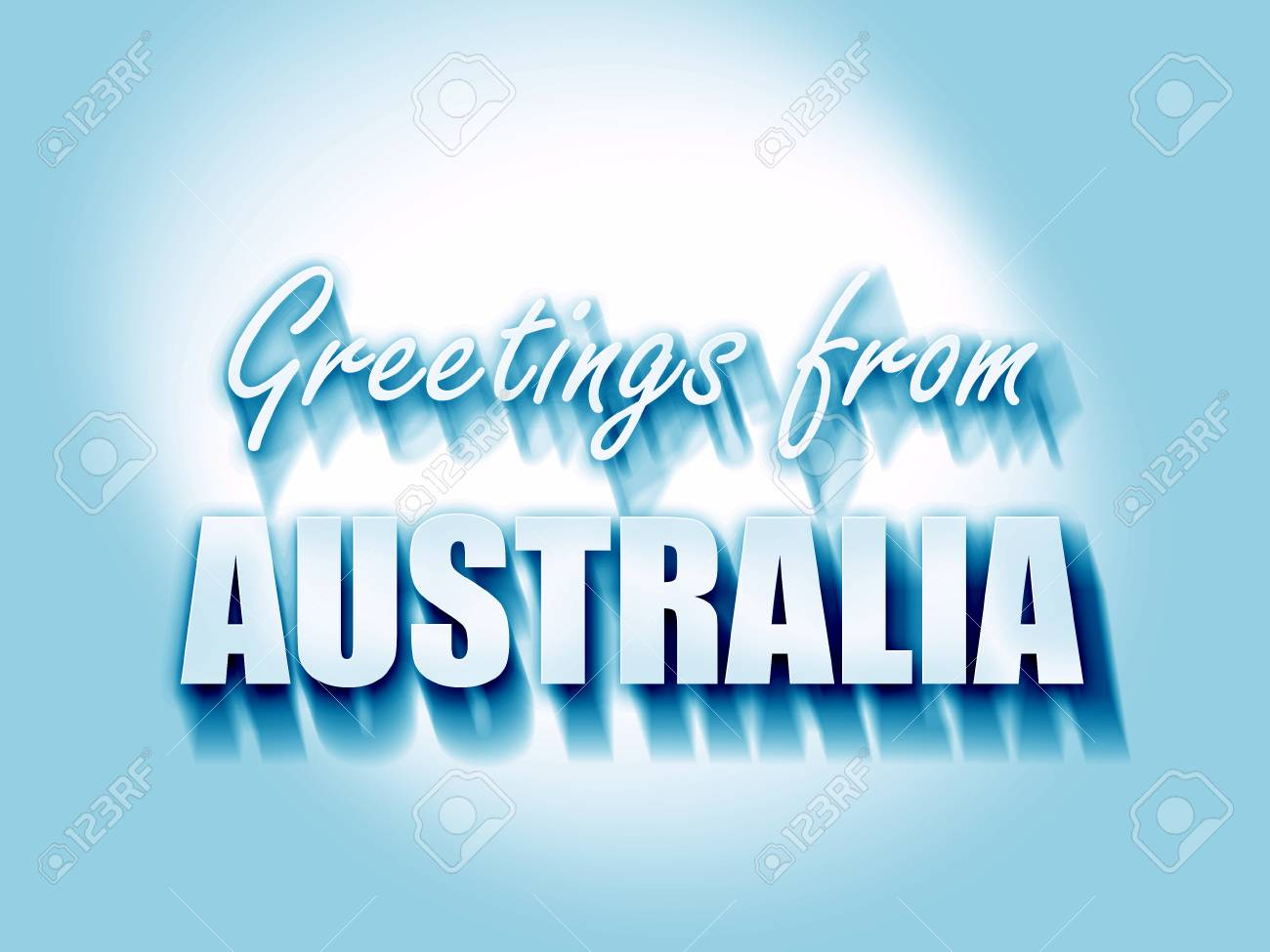 Greetings From Australia Card With Some Soft Highlights Stock Photo