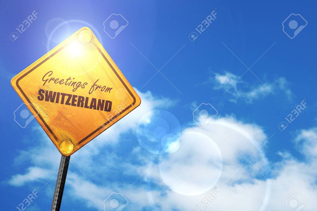 Greetings from switzerland card with some soft highlights yellow greetings from switzerland card with some soft highlights yellow road sign with a blue sky m4hsunfo