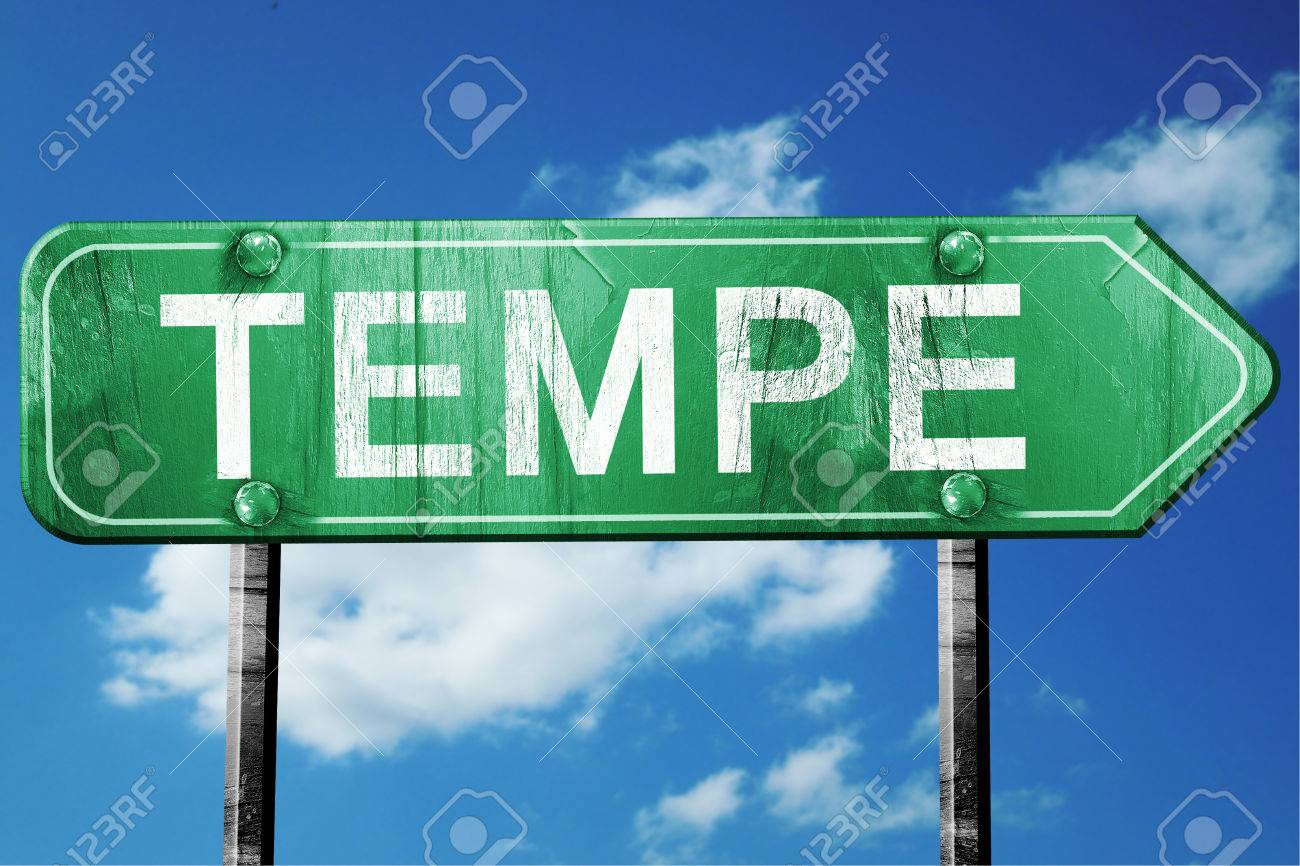 Tempe Road Sign On A Blue Sky Background Stock Photo Picture And