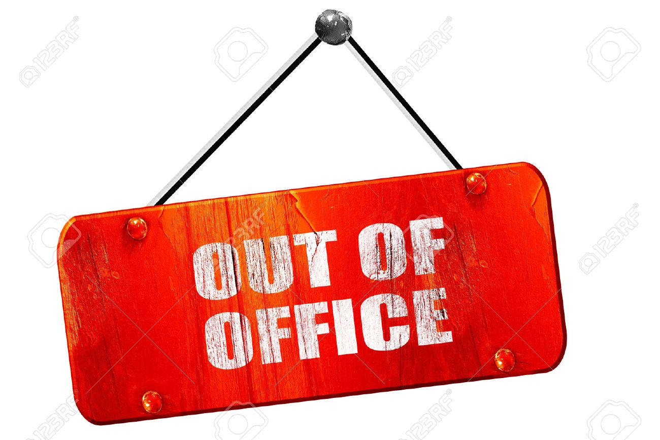 Attractive Out Of Office, 3D Rendering, Red Grunge Vintage Sign Stock Photo  ZO66