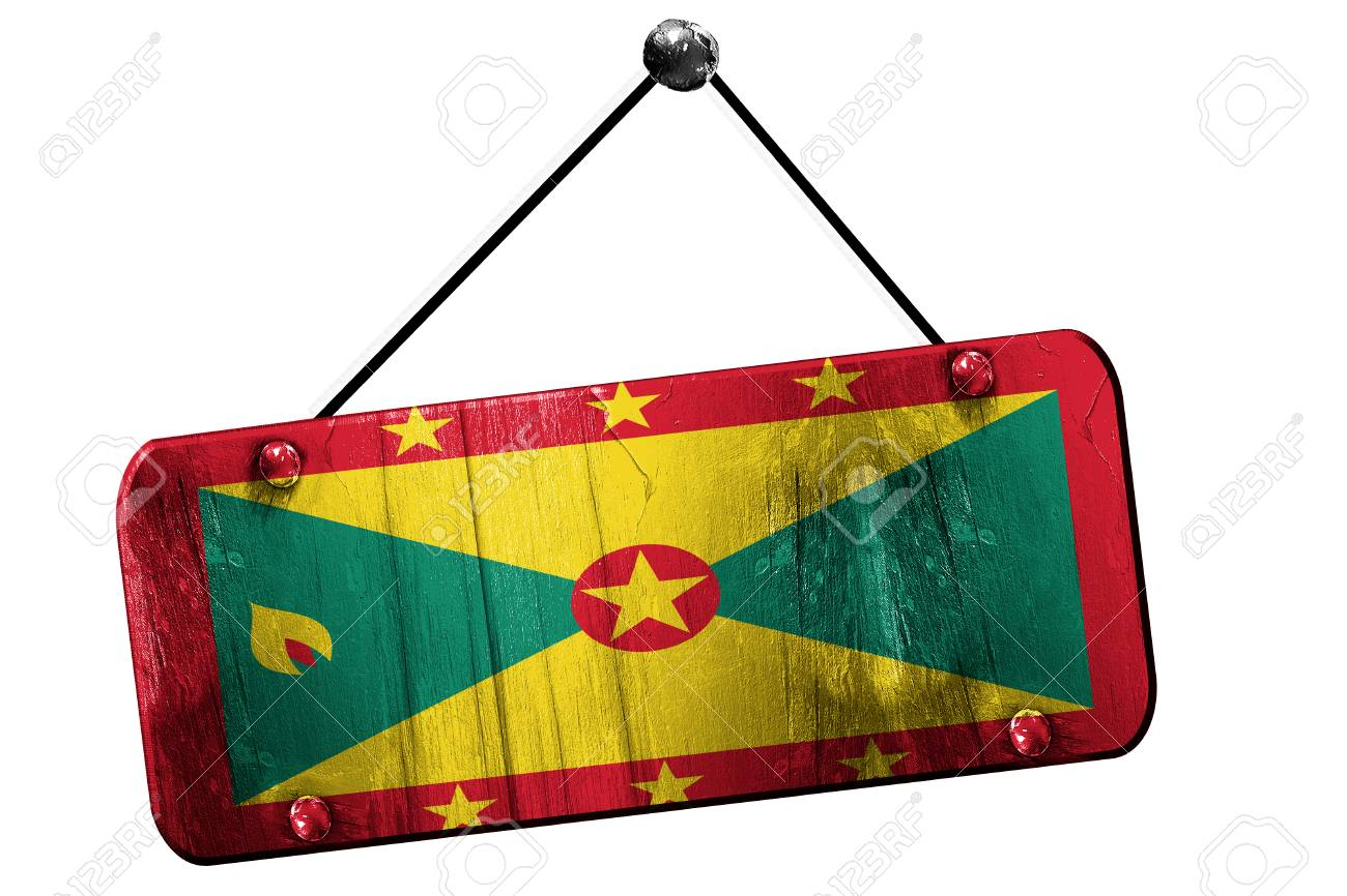 Grenada flag, 3D rendering, grunge old sign on a rope