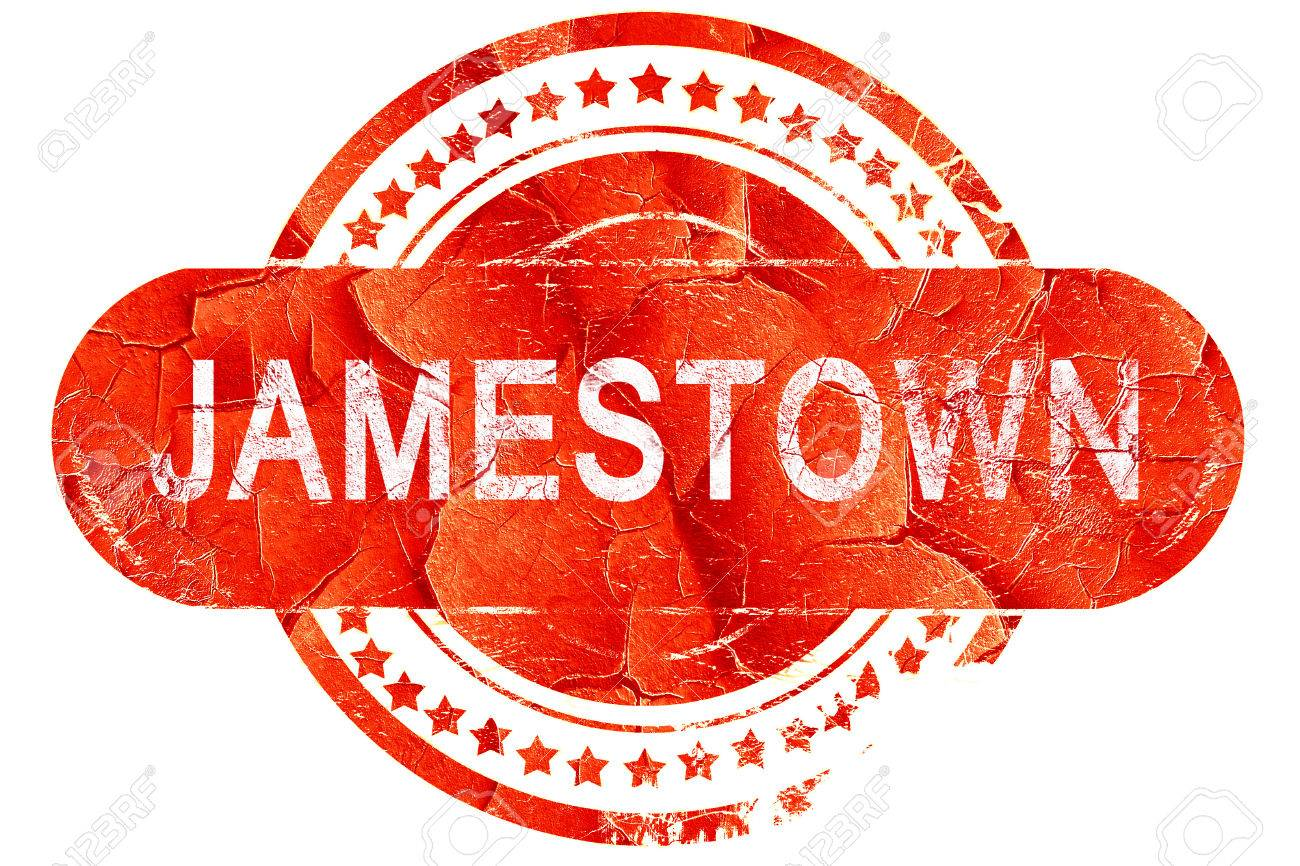 Jamestown Red Grunge Rubber Stamp On White Background Stock Photo