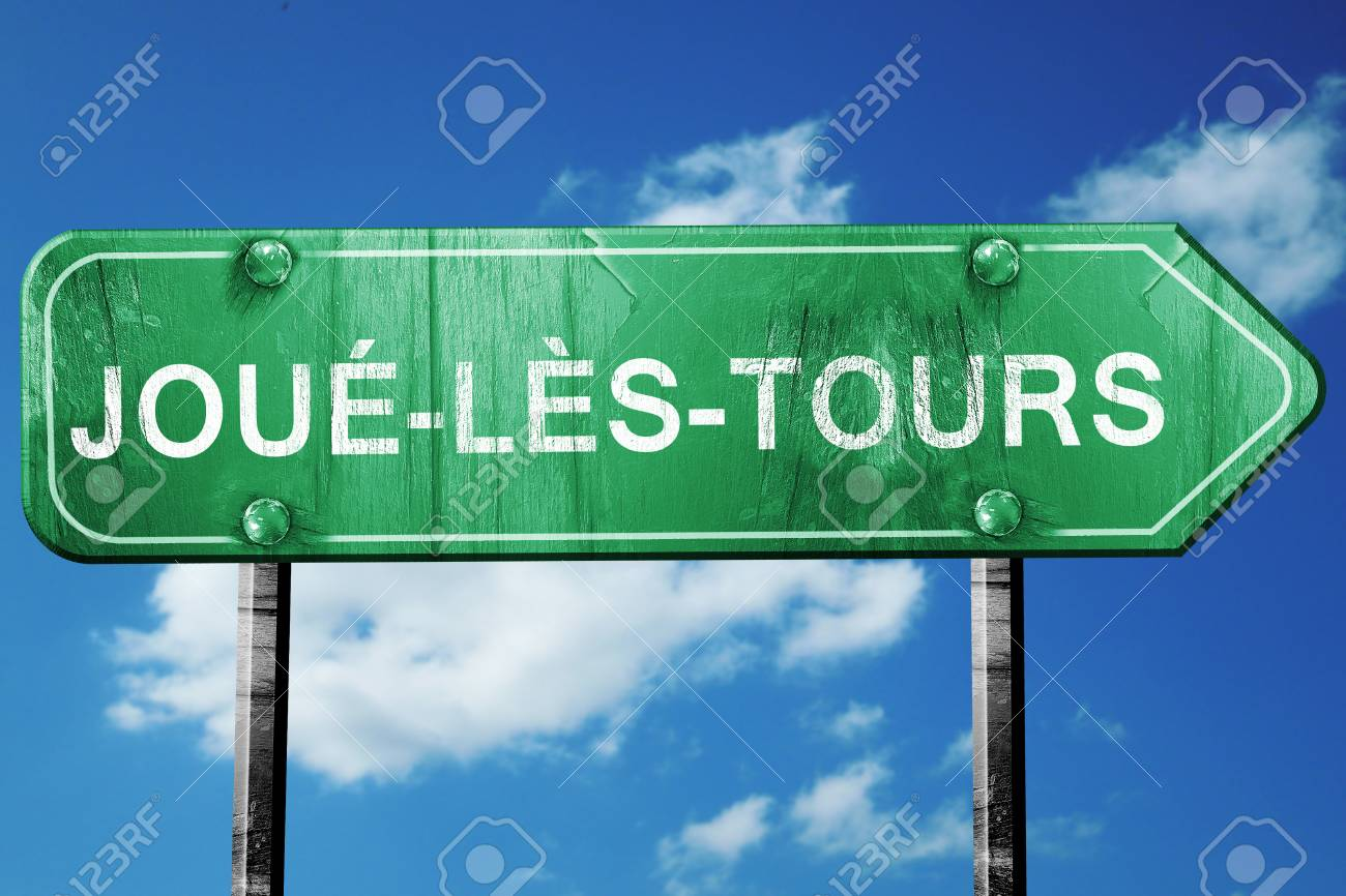 joue-ls-tours road sign, on a blue sky background - 56014768