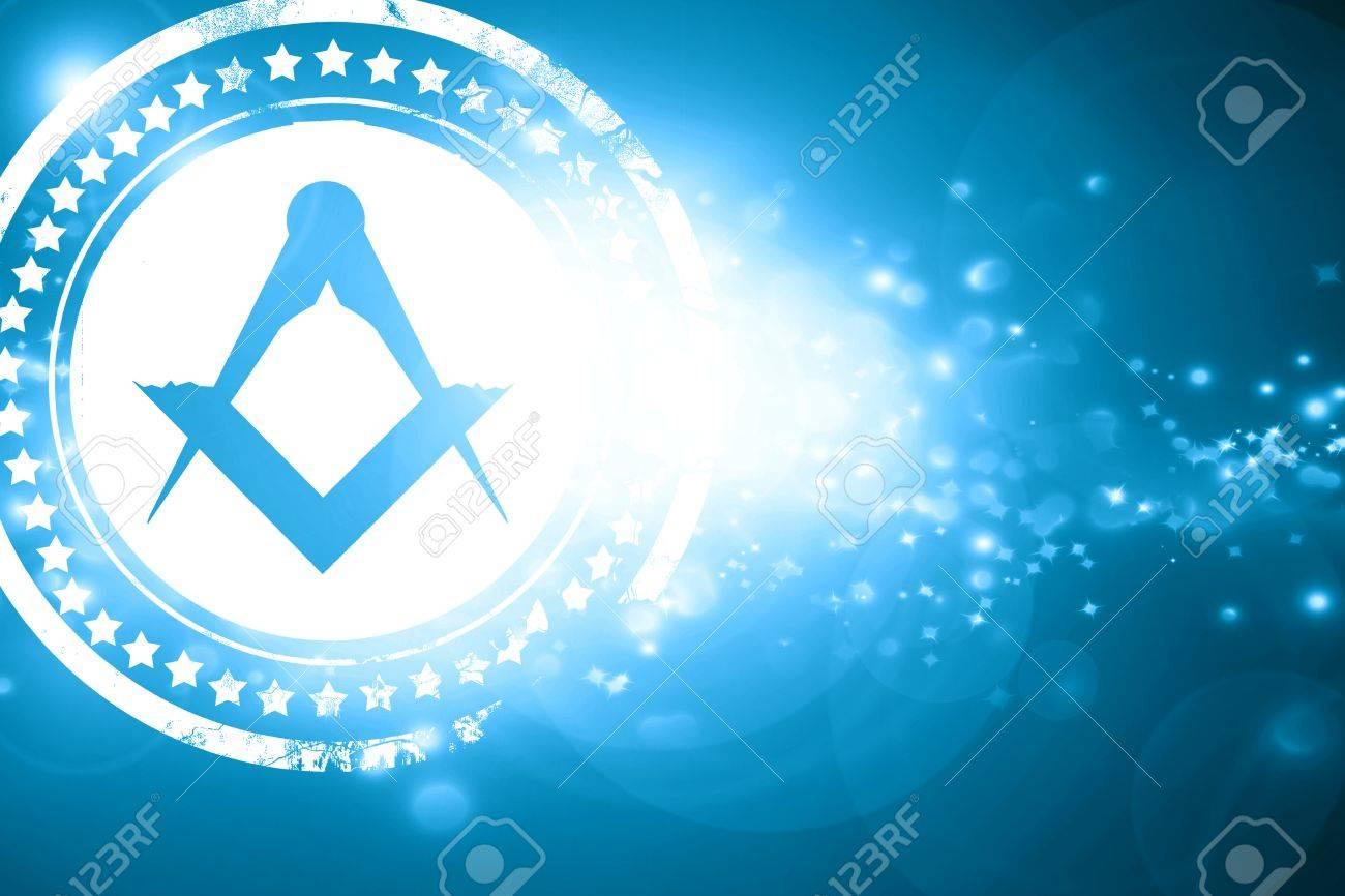 Glittering blue stamp: Masonic freemasonry symbol with some soft