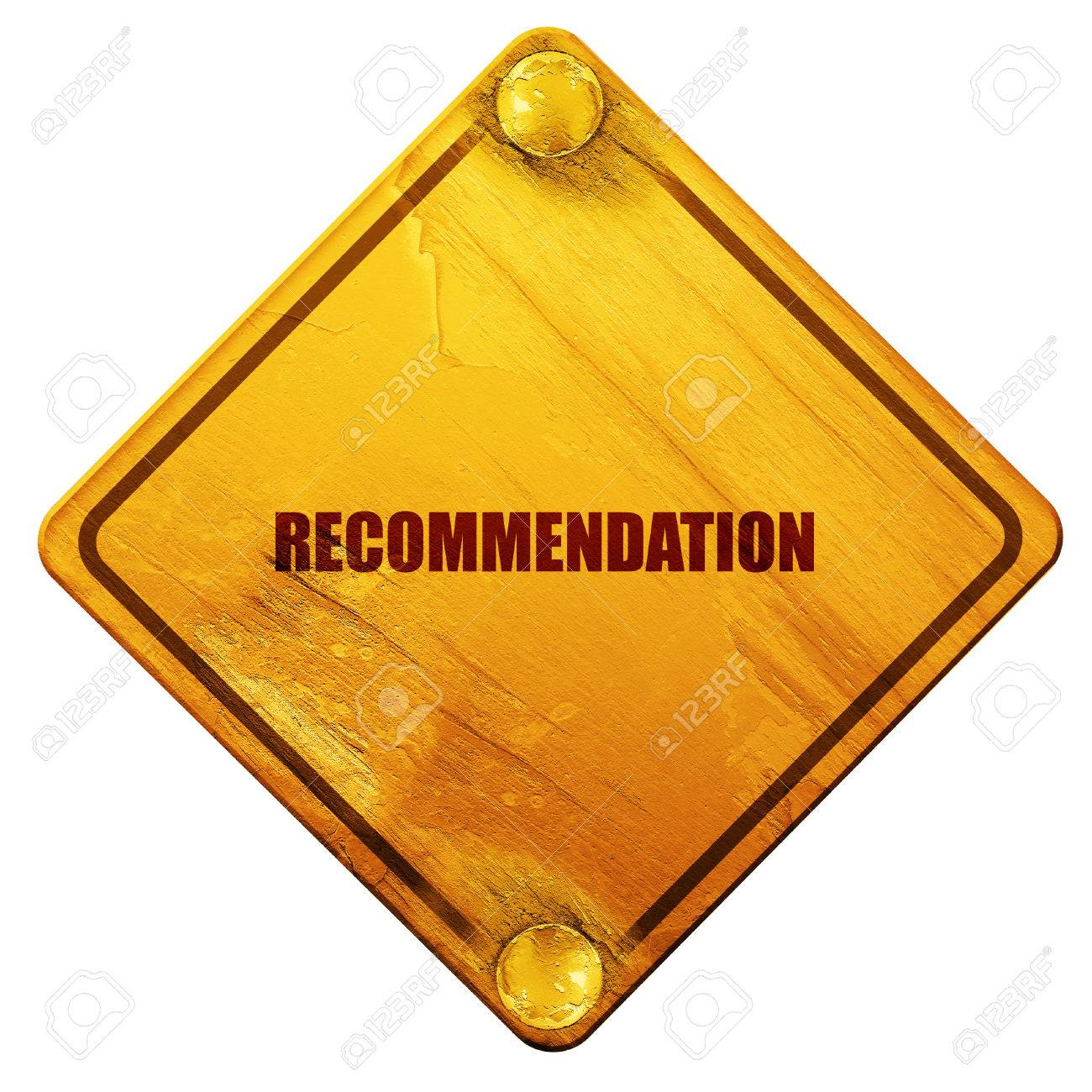 recommendation d rendering yellow road sign on a white stock photo recommendation 3d rendering yellow road sign on a white background