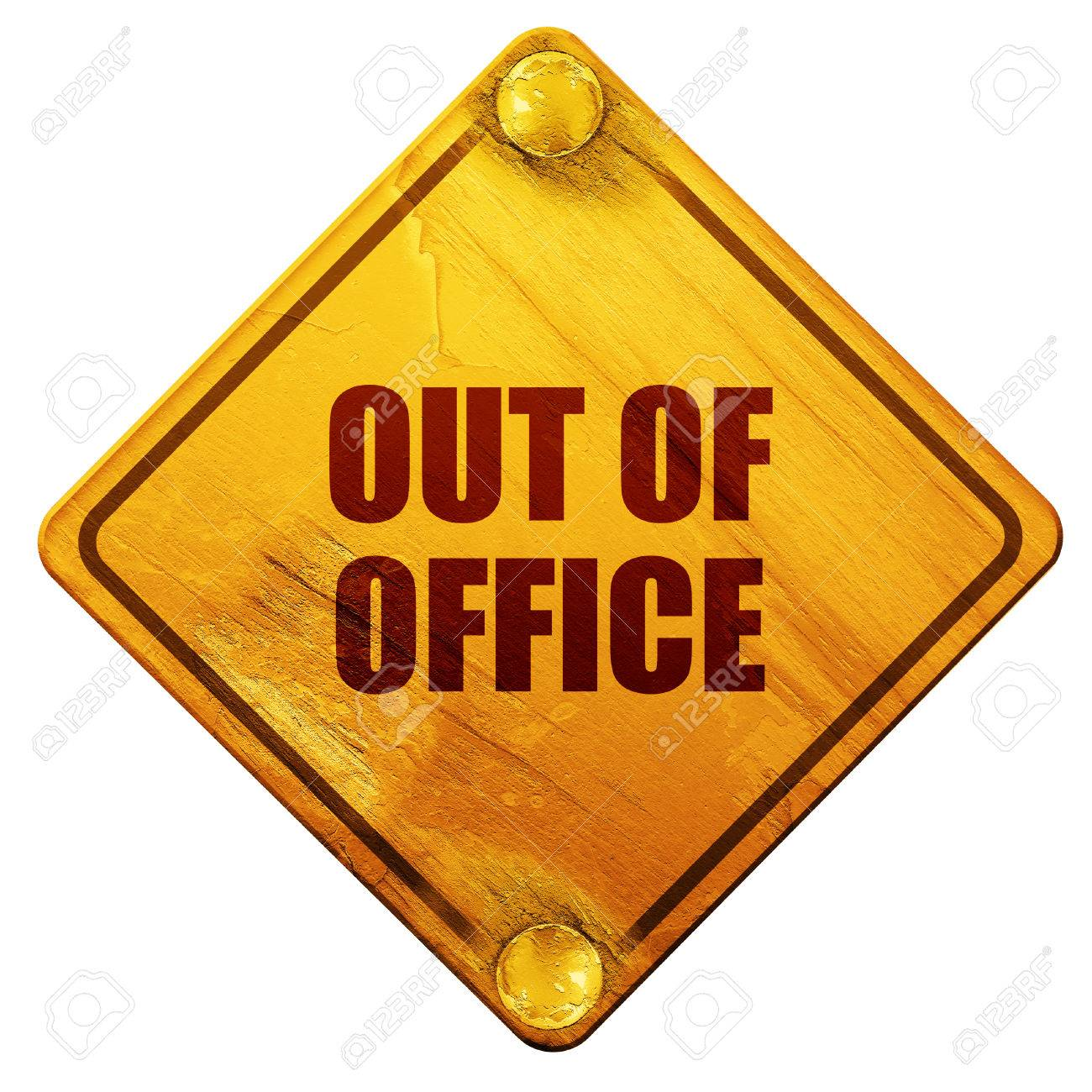 out of office 3d rendering yellow road sign on a white background rh 123rf com out of office clipart out of office clipart
