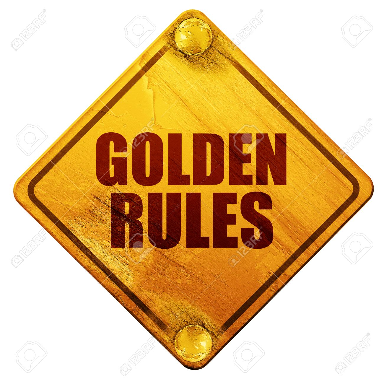 Golden Rules 3d Rendering Yellow Road Sign On A White Background