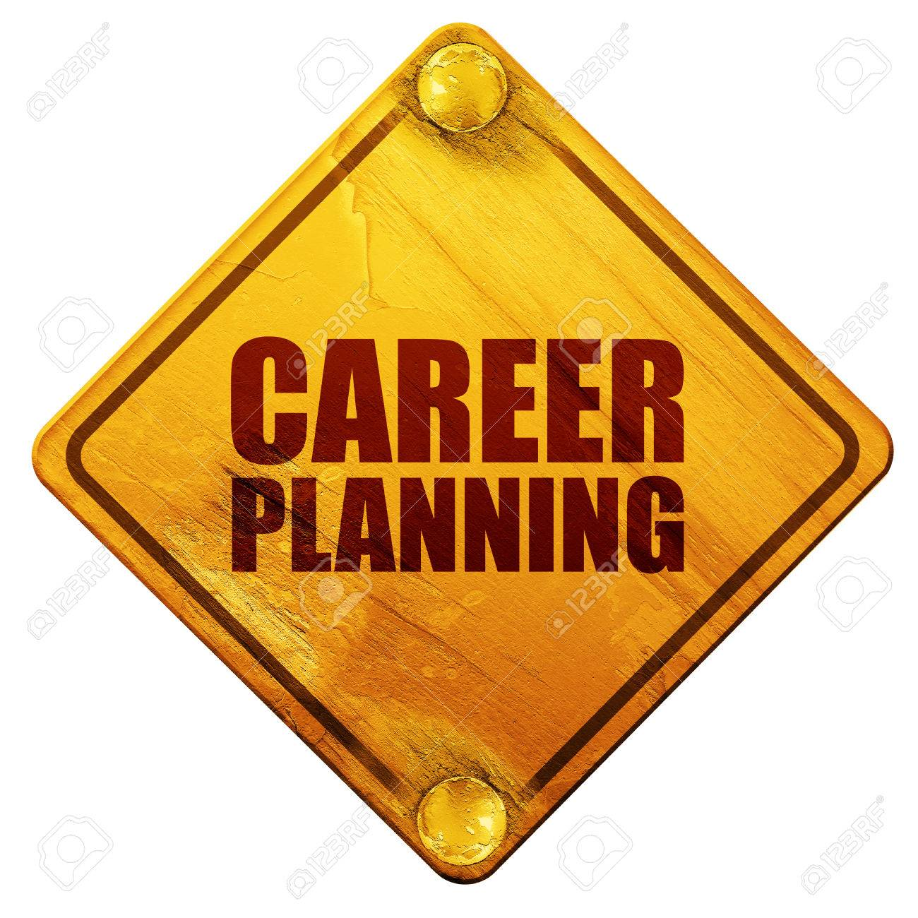 career planning d rendering yellow road sign on a white stock photo career planning 3d rendering yellow road sign on a white background