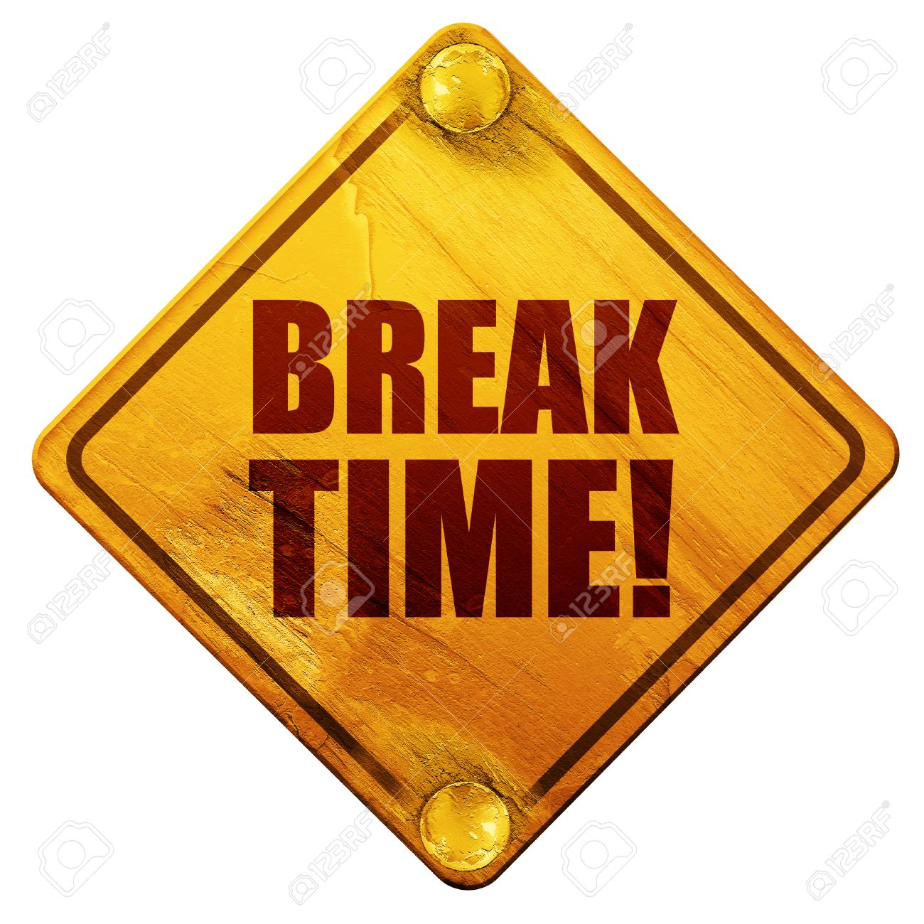Break Time 3D Rendering Yellow Road Sign On A White Background Stock Photo