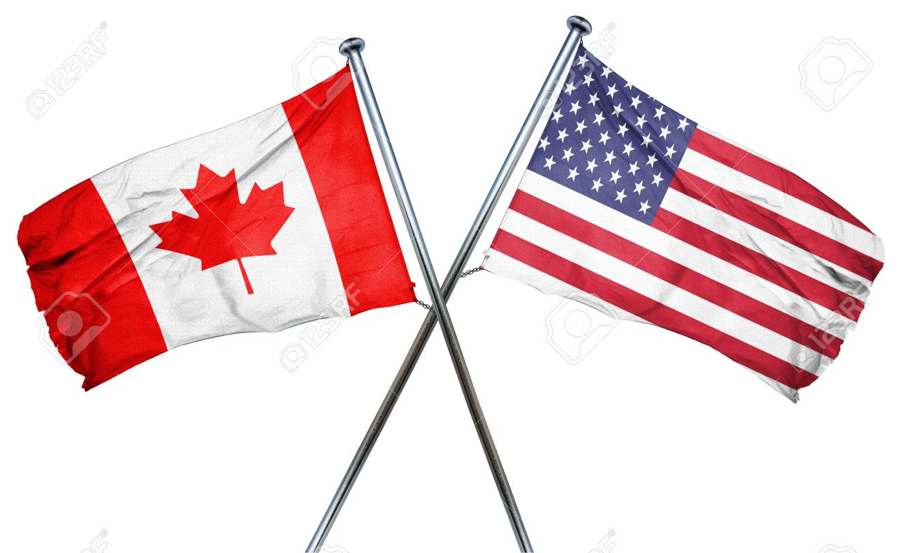 ae69ce80b7c Canada flag combined with american flag Stock Photo - 56691458