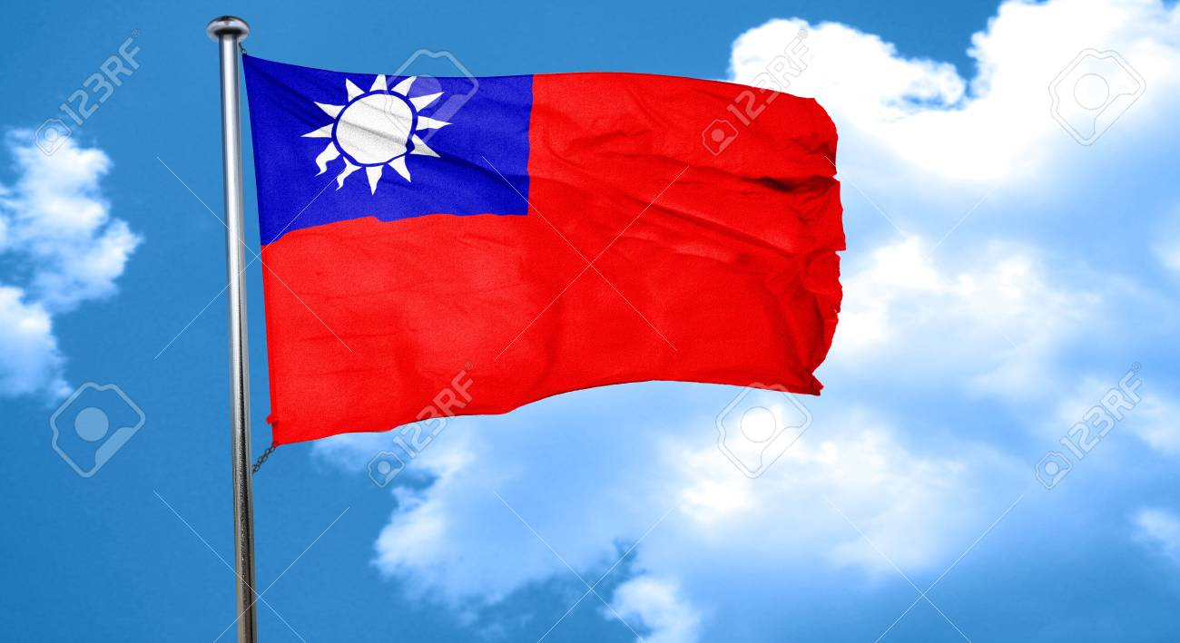 Republic of china flag waving in the wind