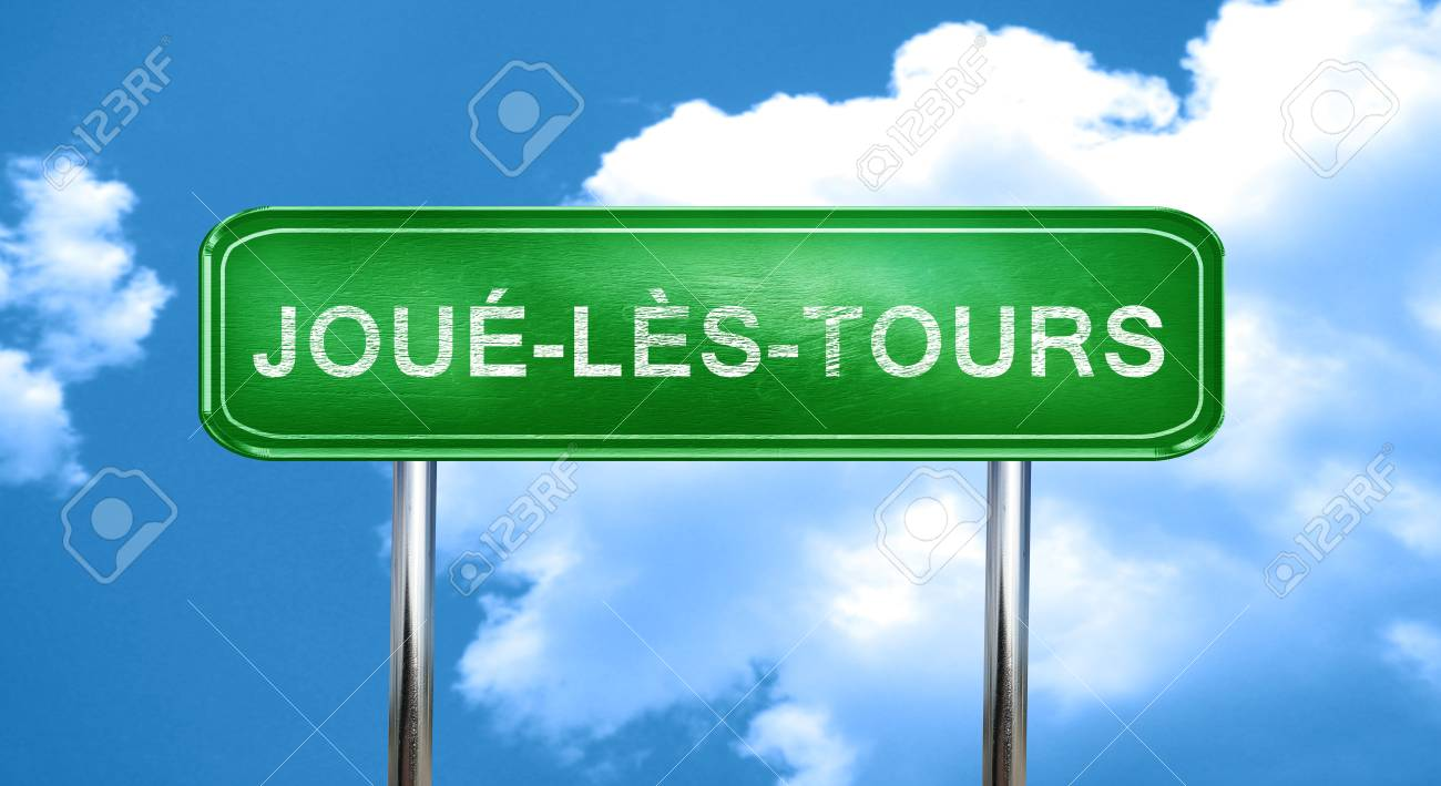 joue-les-tours city, green road sign on a blue background - 56784508