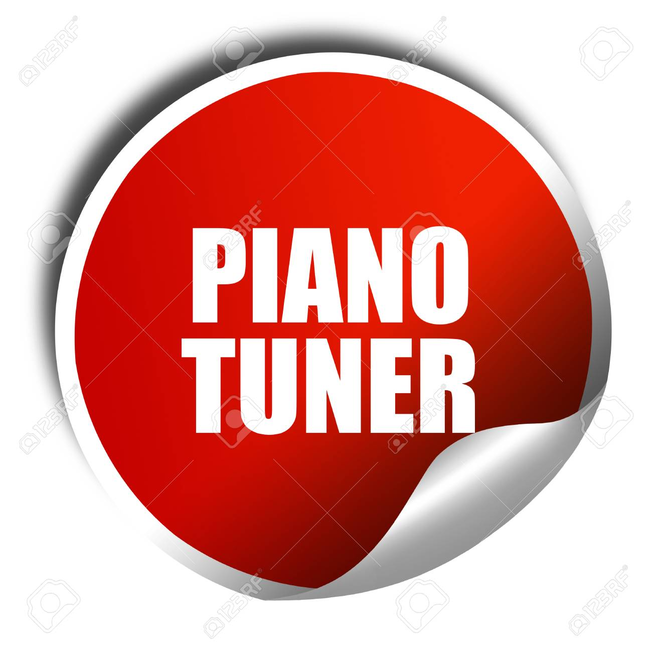 piano tuner, 3D rendering, red sticker with white text