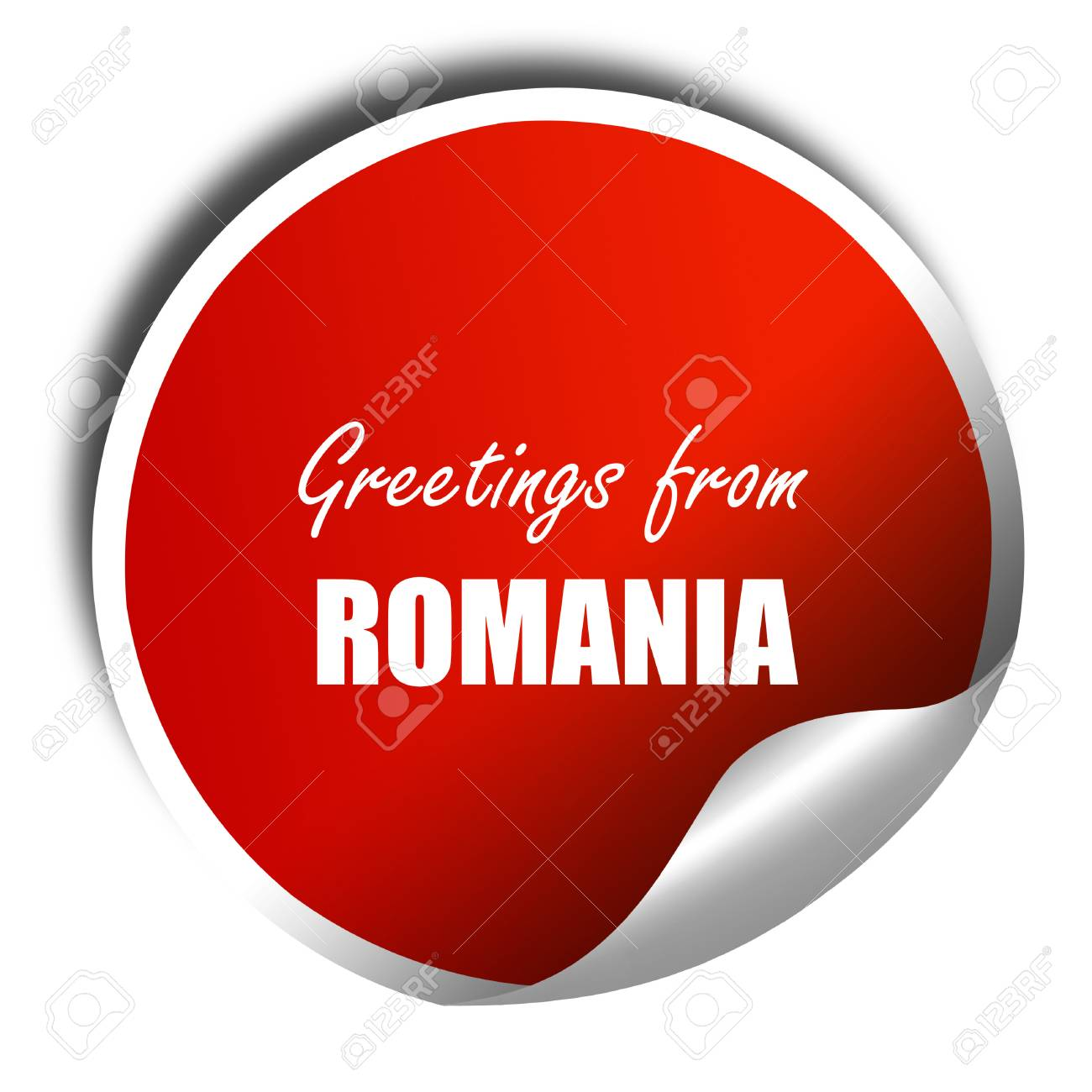 Greetings from romania card with some soft highlights 3d rendering greetings from romania card with some soft highlights 3d rendering red sticker with white m4hsunfo
