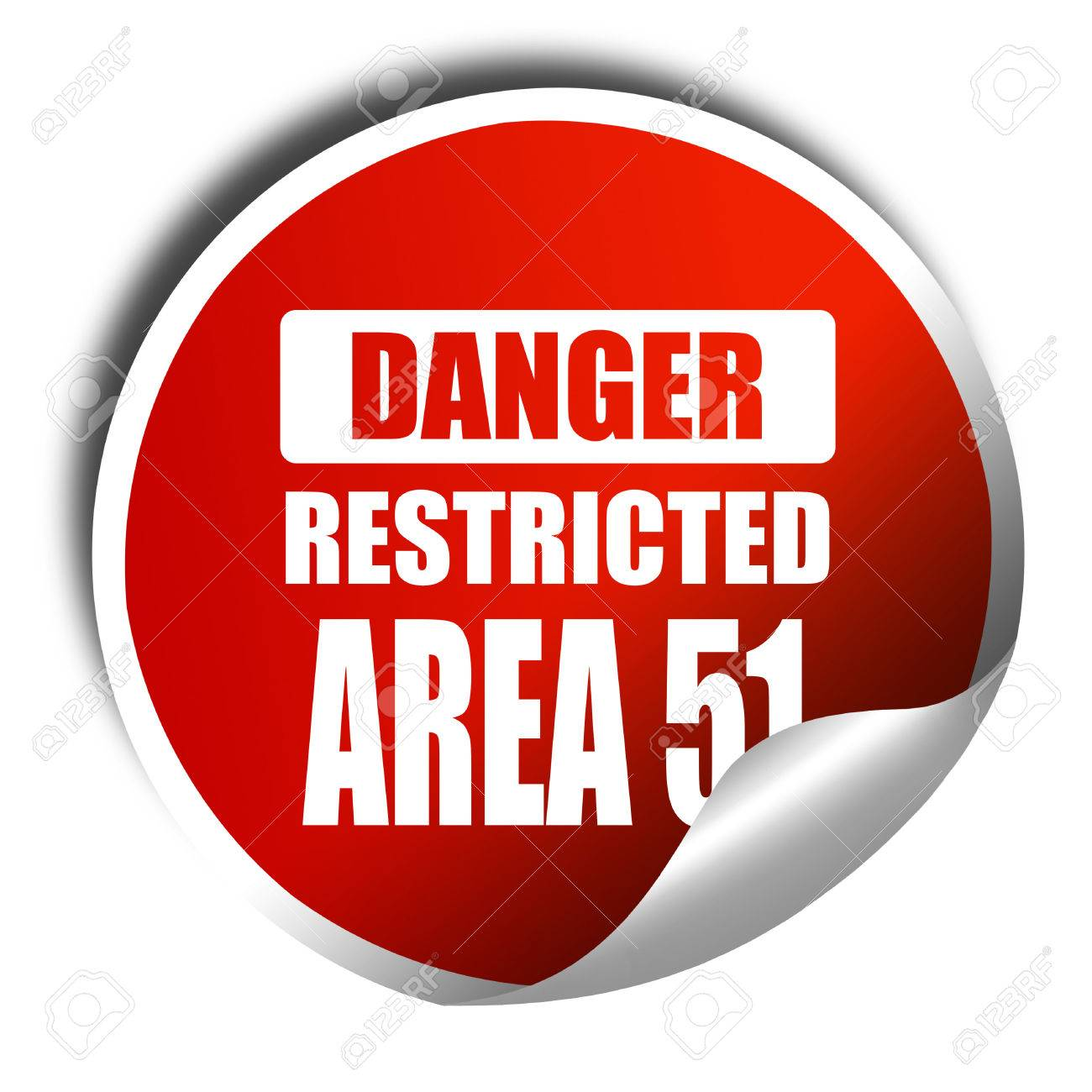 area 51 sign with some soft flowing lines, 3D rendering, red