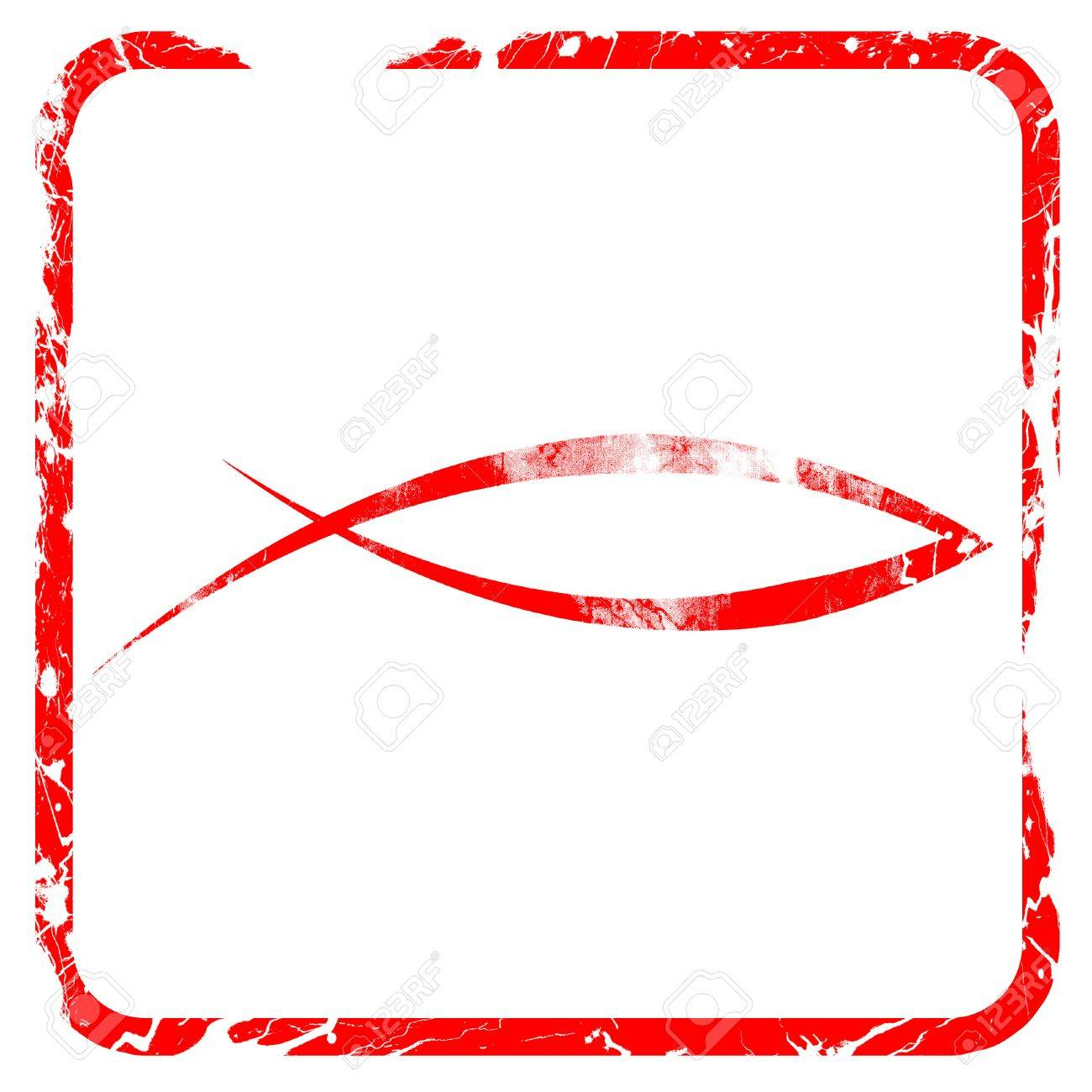 Christian fish symbol with some soft smooth lines red rubber christian fish symbol with some soft smooth lines red rubber stamp with grunge edges stock buycottarizona Gallery