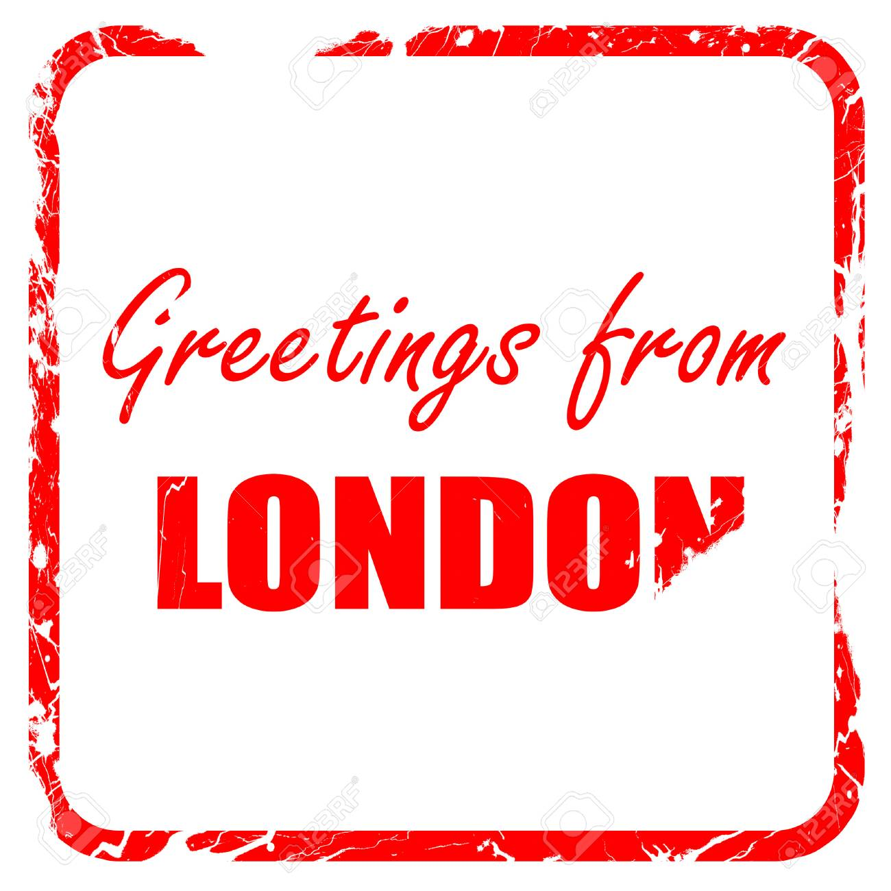 Greetings from london with some smooth lines, red rubber stamp