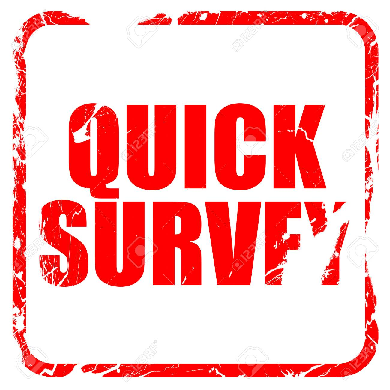 quick survey red rubber stamp with grunge edges stock photo