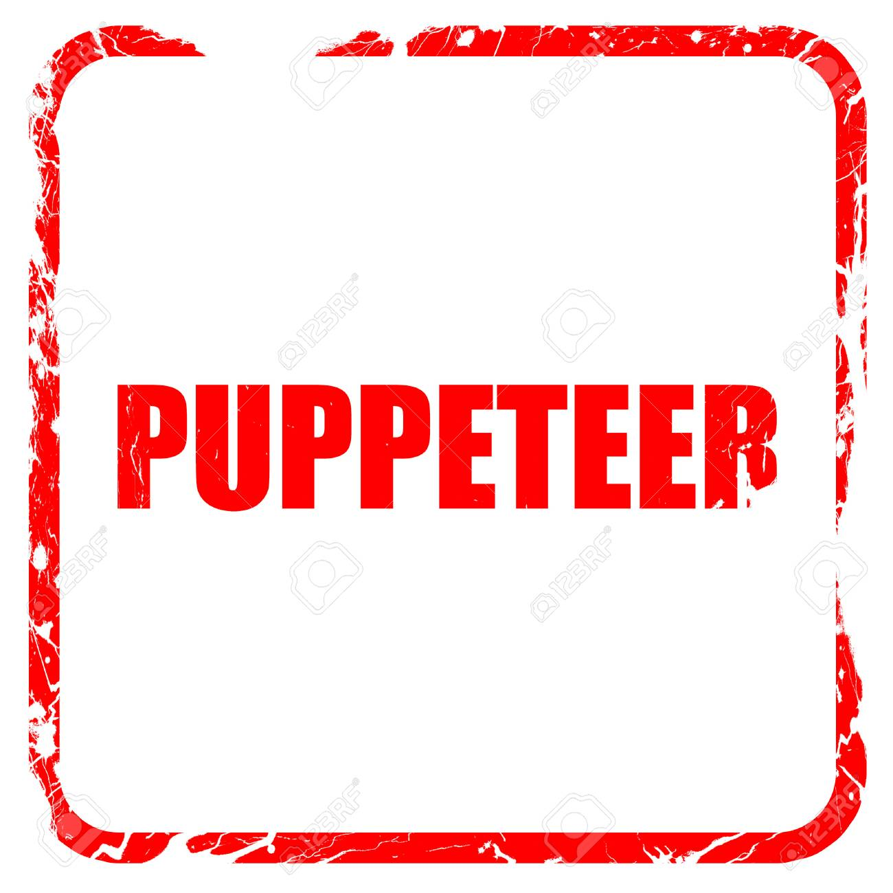 puppeteer, red rubber stamp with grunge edges