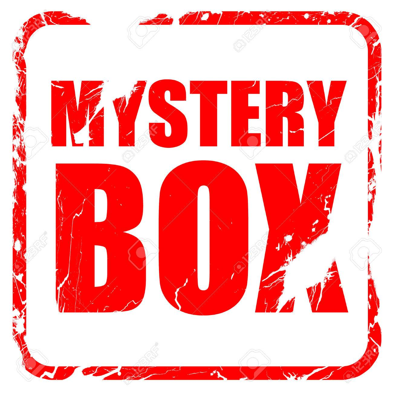 Mystery Box Red Rubber Stamp With Grunge Edges Stock Photo