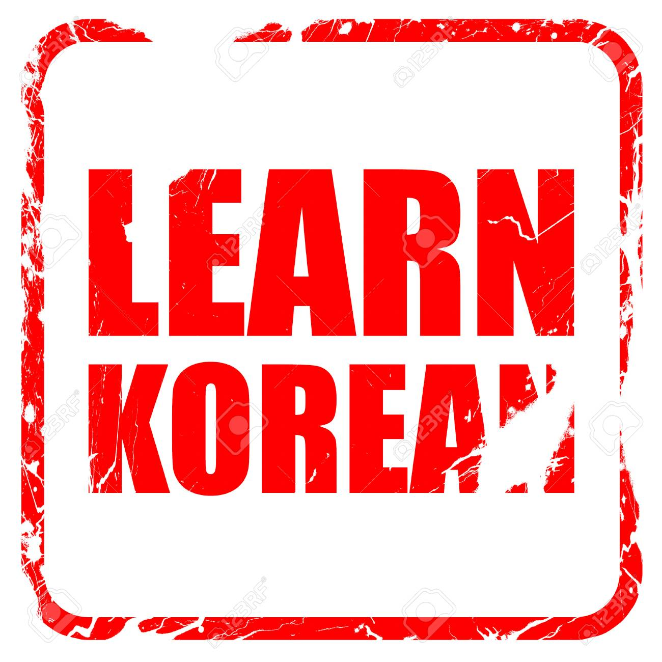 learn korean, red rubber stamp with grunge edges