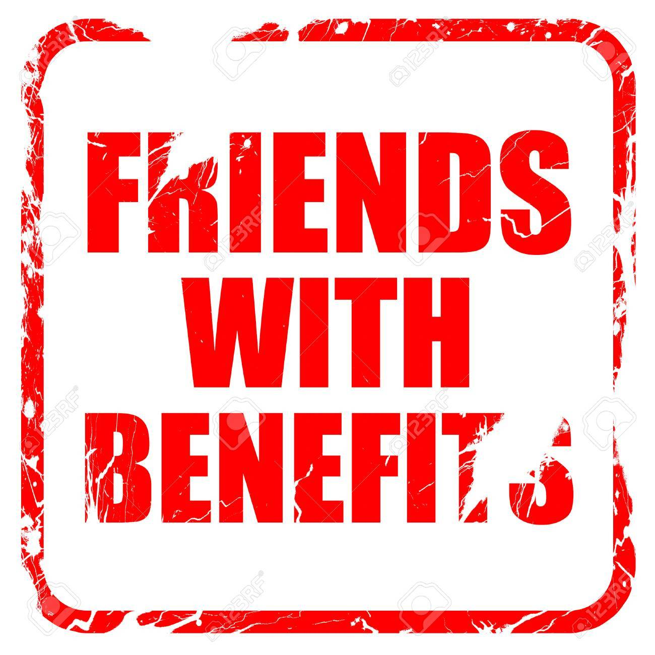 friends with benefits, red rubber stamp with grunge edges