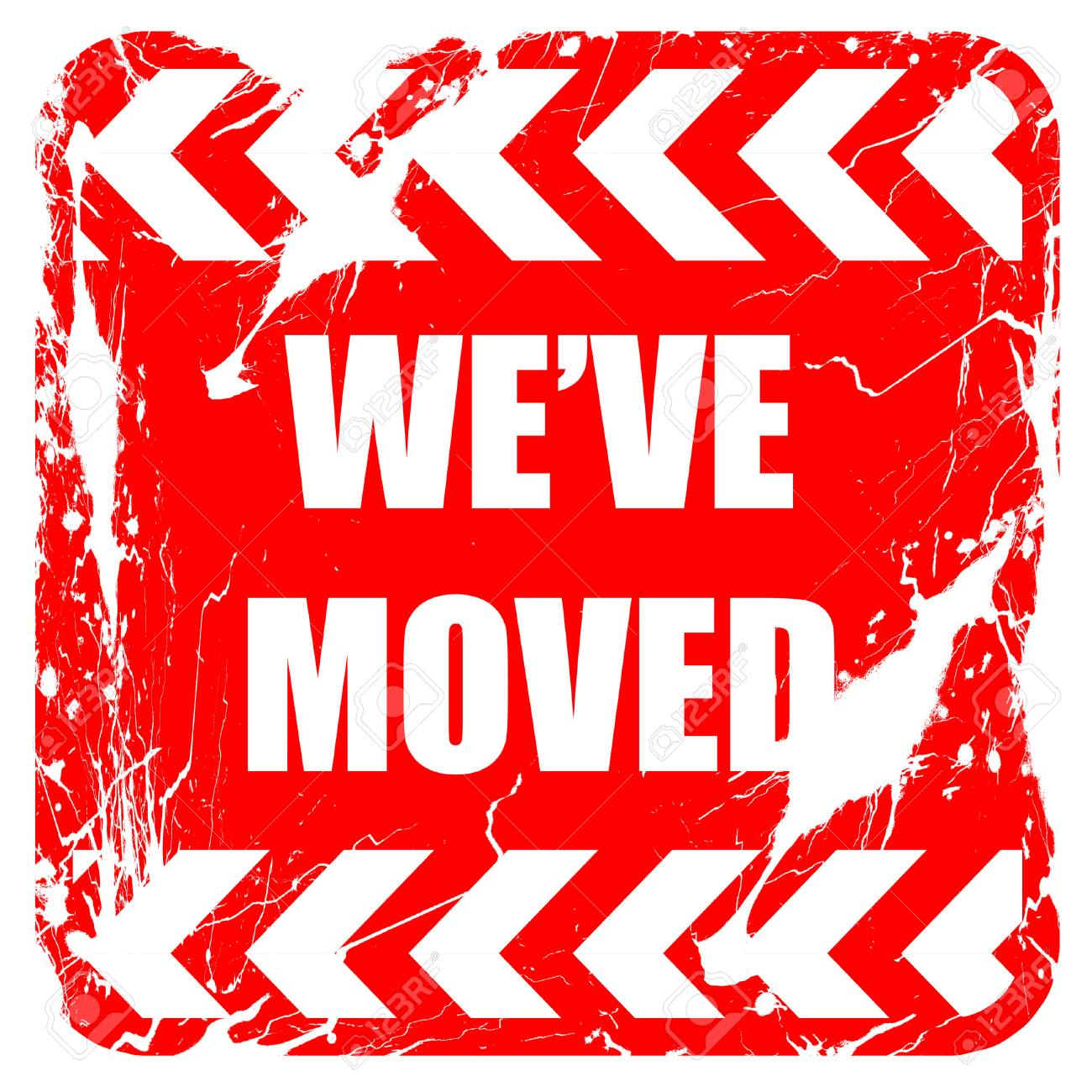 Weve Moved Sign With Some Soft Smooth Lines Red Rubber Stamp