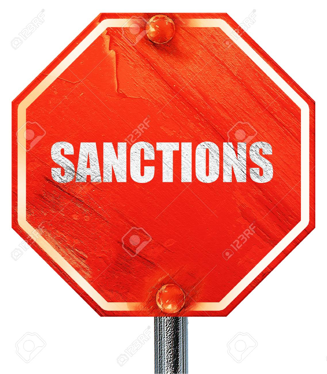 sanctions, 3D rendering, a red stop sign - 57173414