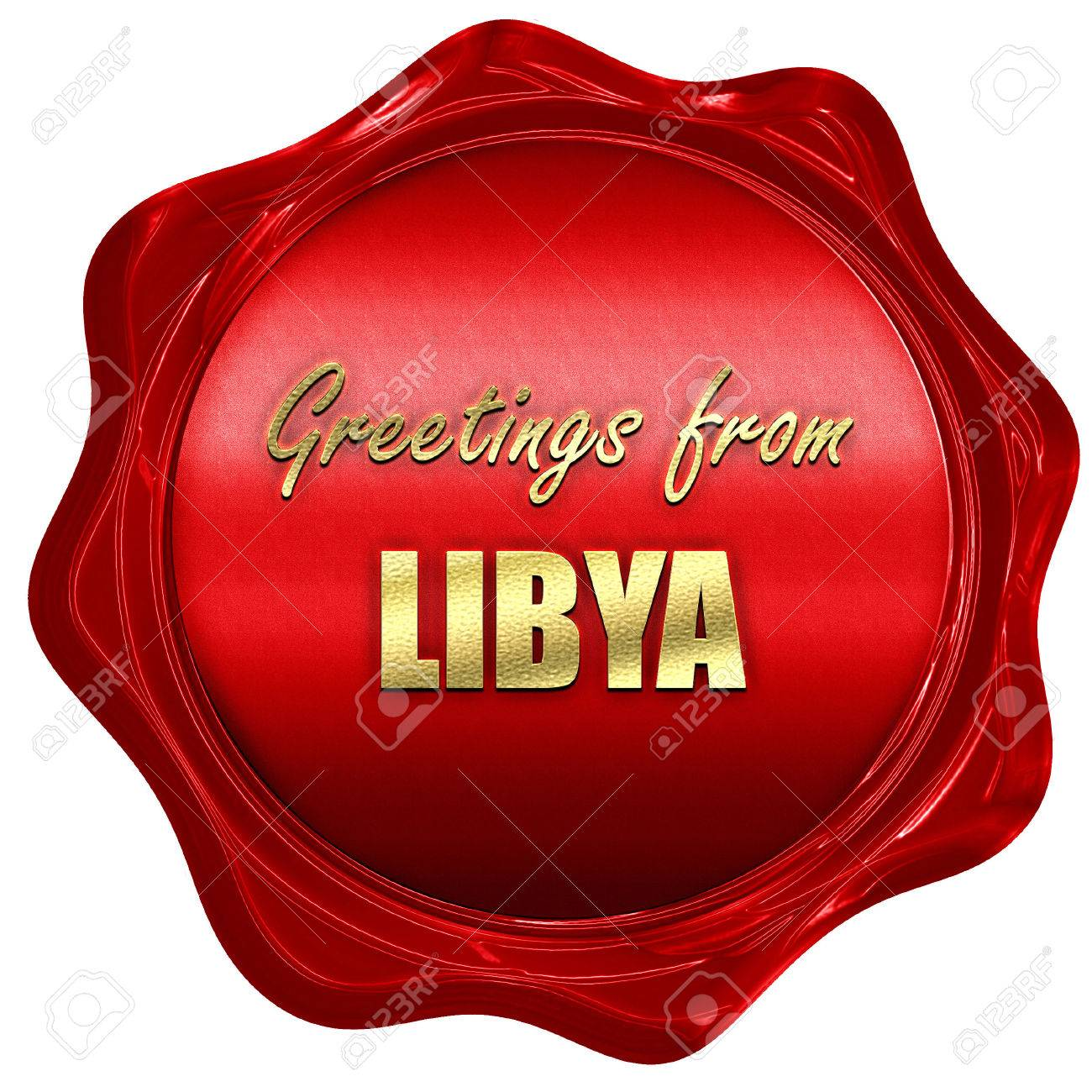 Greetings From Libya Card With Some Soft Highlights 3d Rendering