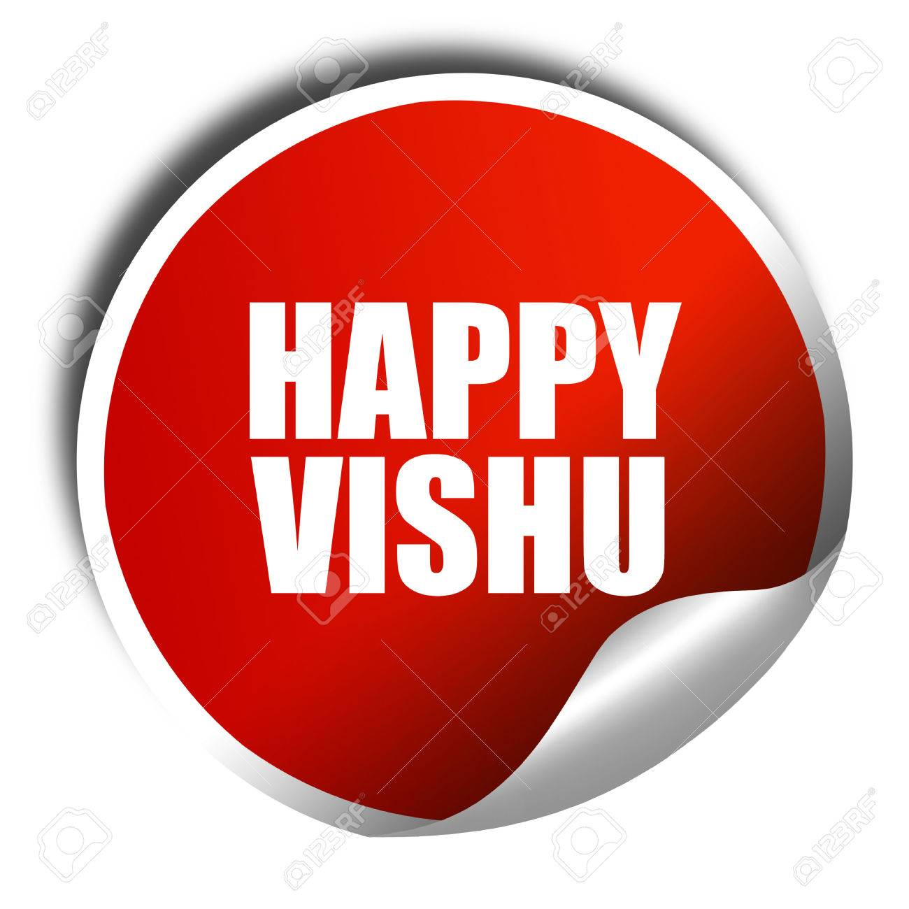 Happy vishu 3d rendering a red shiny sticker stock photo 57495869