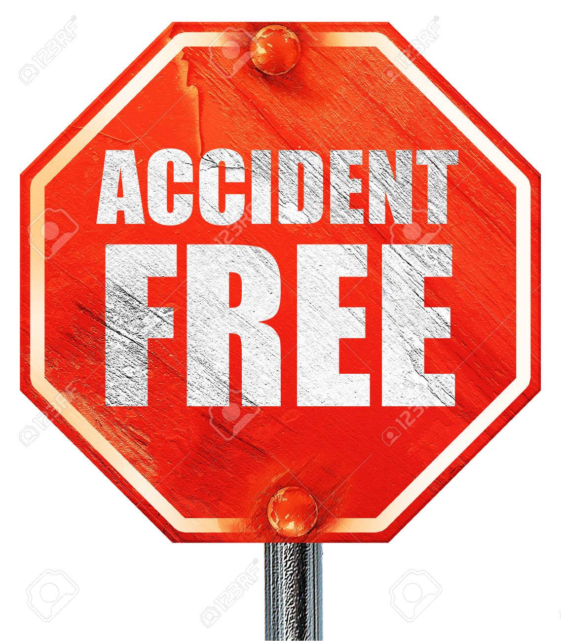 Accident Free, 3D Rendering, A Red Stop Sign Stock Photo, Picture ...