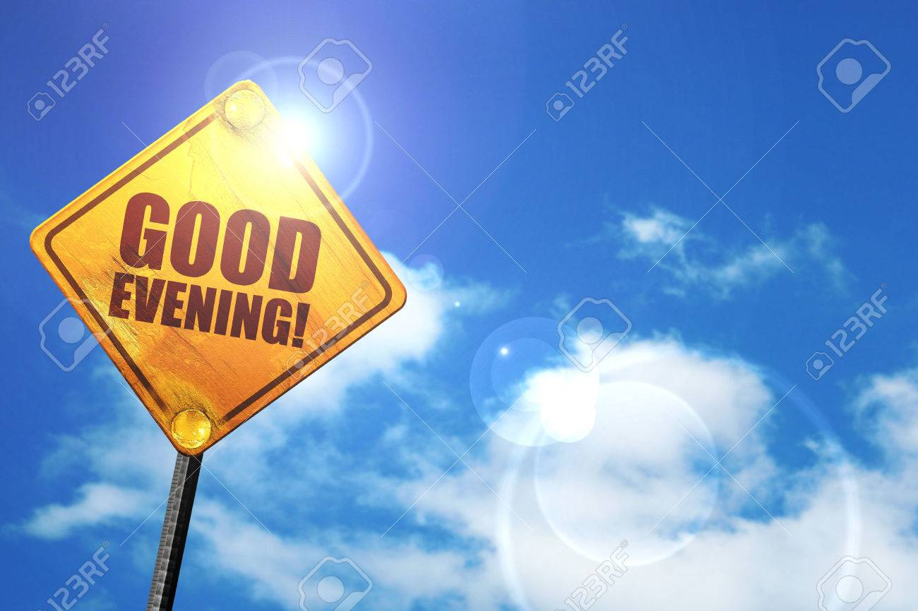 Good Evening 3d Rendering Glowing Yellow Traffic Sign Stock Photo