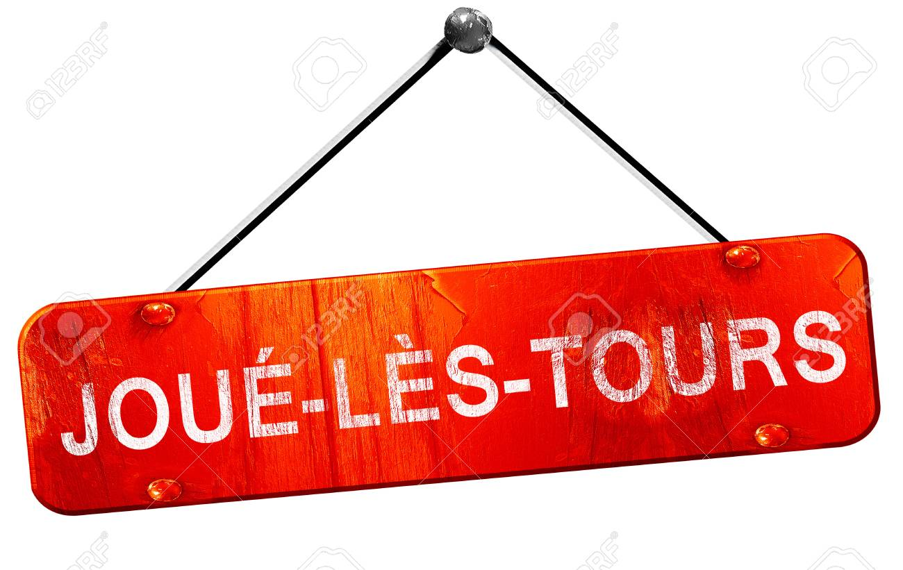 joue-les-tours, 3D rendering, a red hanging sign - 58026088