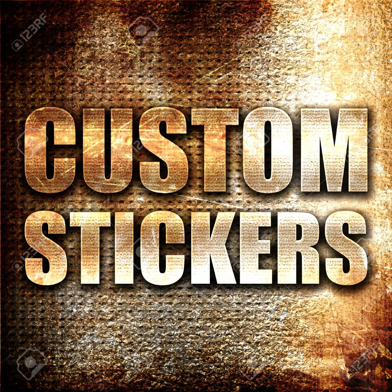 Custom stickers 3d rendering metal text on rust background stock photo 58069358