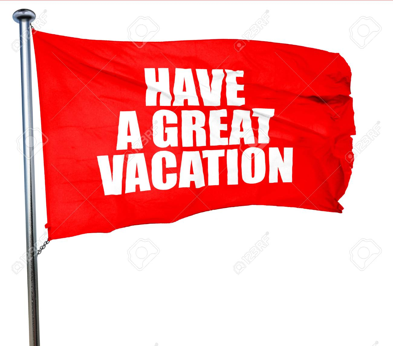 Have A Great Vacation 3D Rendering Red Waving Flag Stock Photo