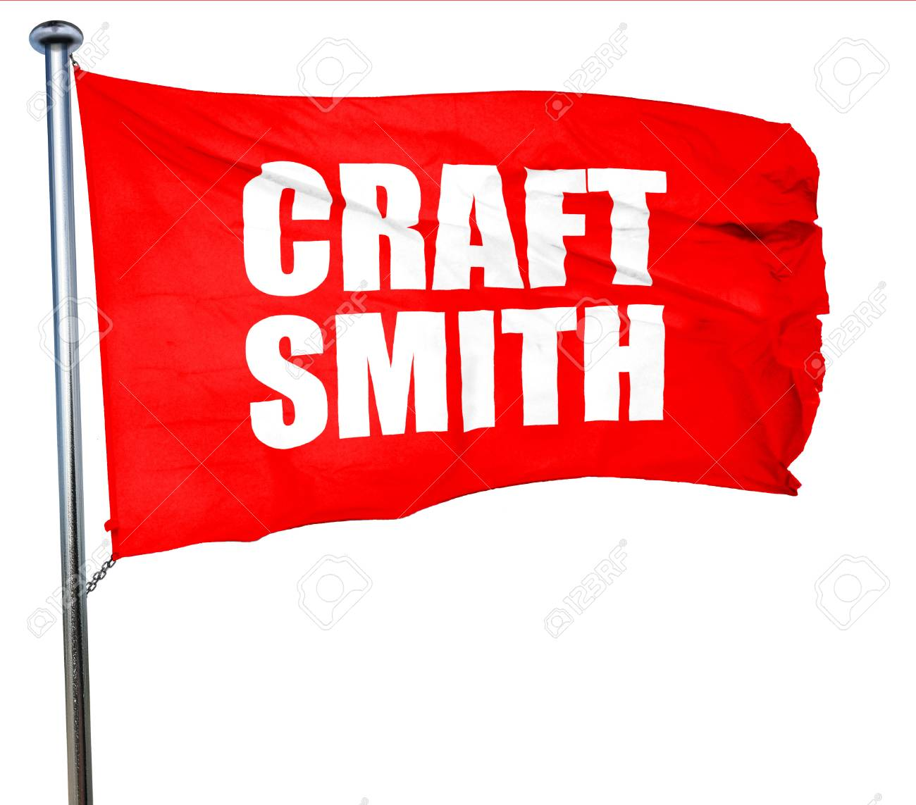 craft smith, 3D rendering, a red waving flag