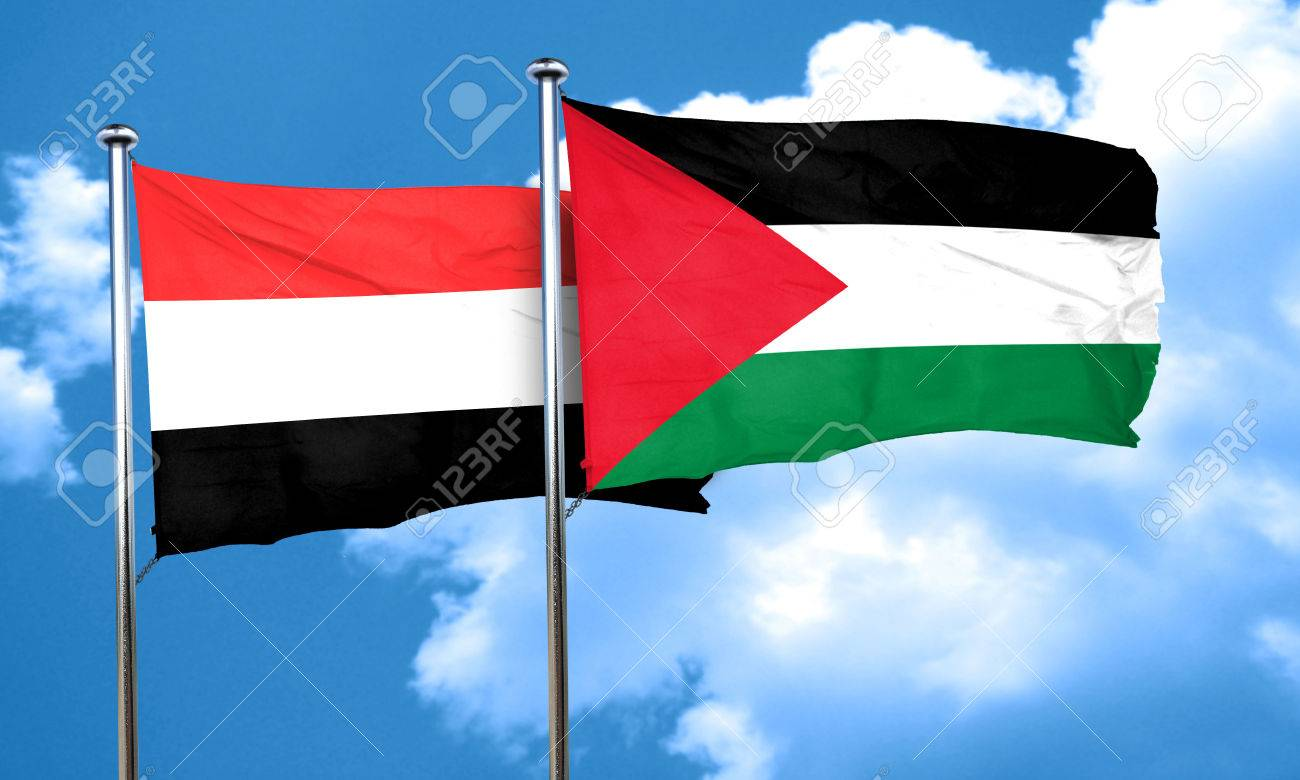 yemen flag with palestine flag 3d rendering stock photo picture
