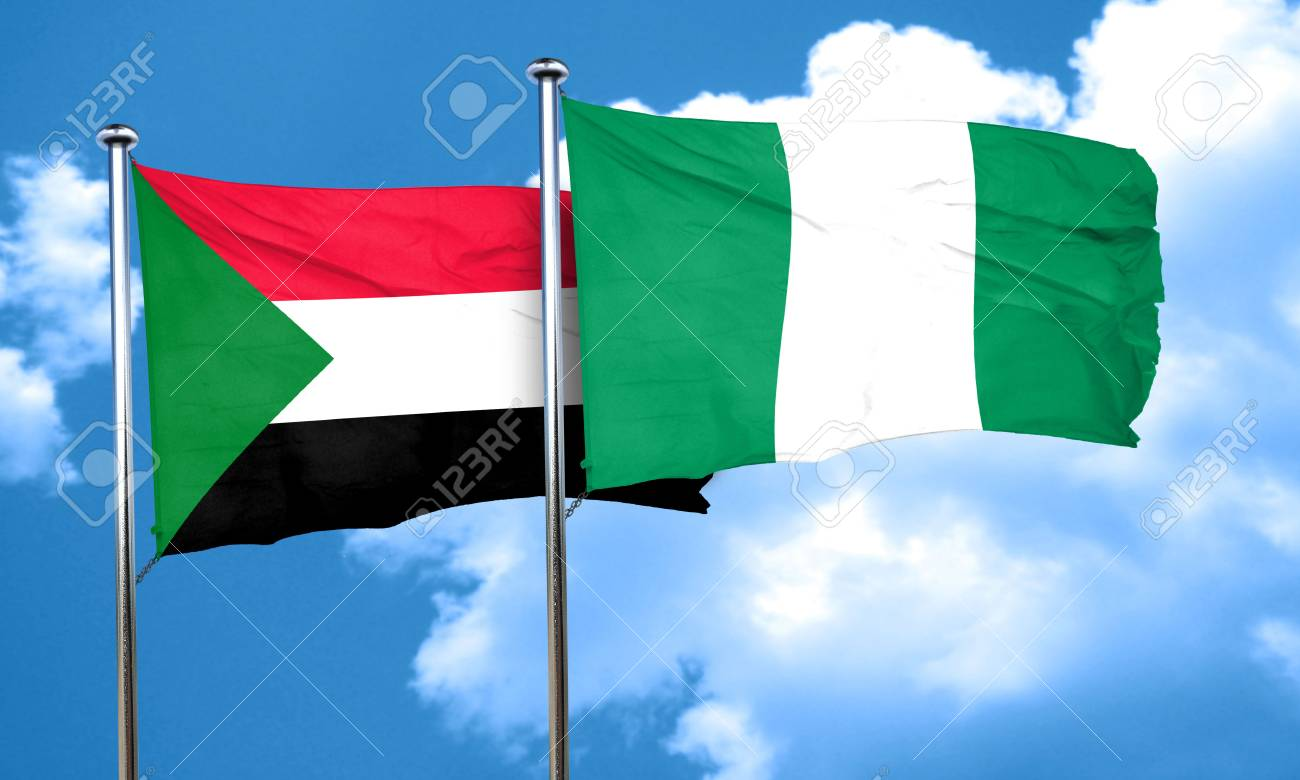 sudan flag with nigeria flag 3d rendering stock photo picture and