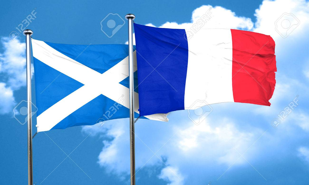 scotland flag with france flag 3d rendering stock photo picture