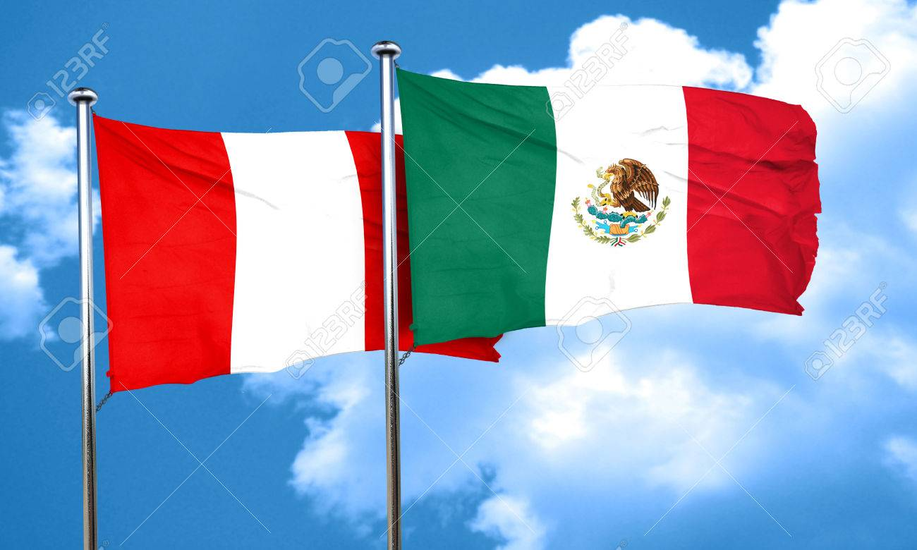 peru flag with mexico flag 3d rendering stock photo picture and
