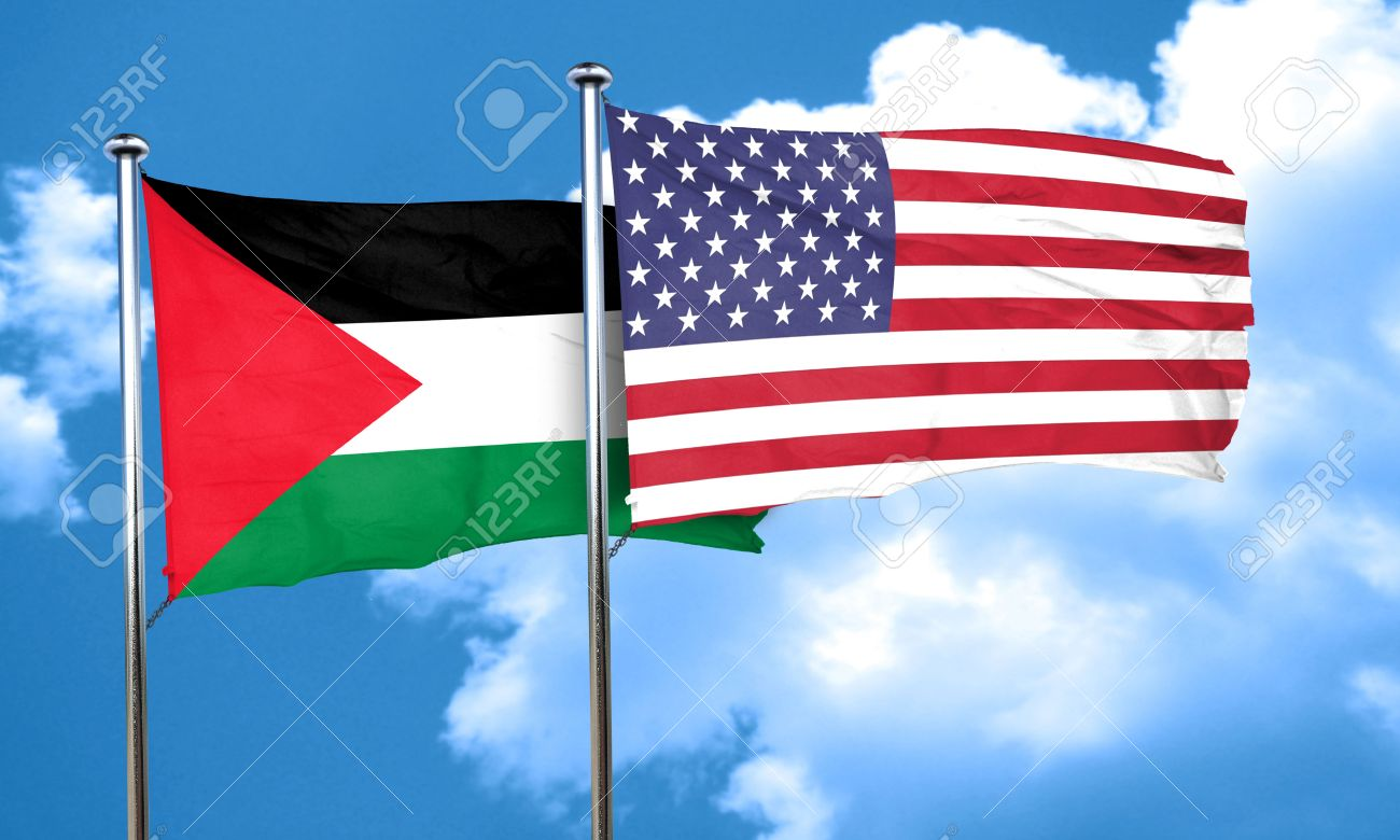 palestine flag with american flag 3d rendering stock photo picture