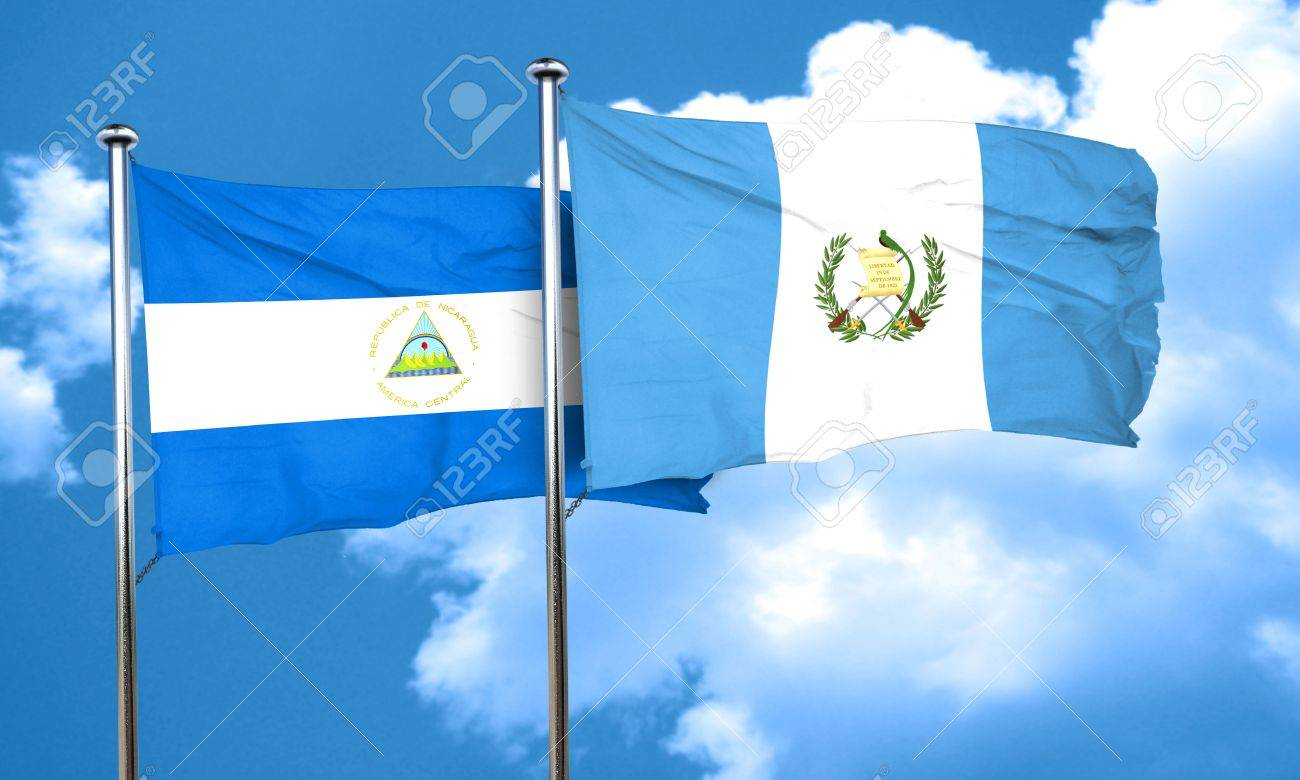 nicaragua flag with guatemala flag 3d rendering stock photo