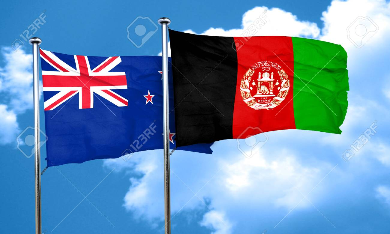 New zealand flag with afghanistan flag, 3D rendering