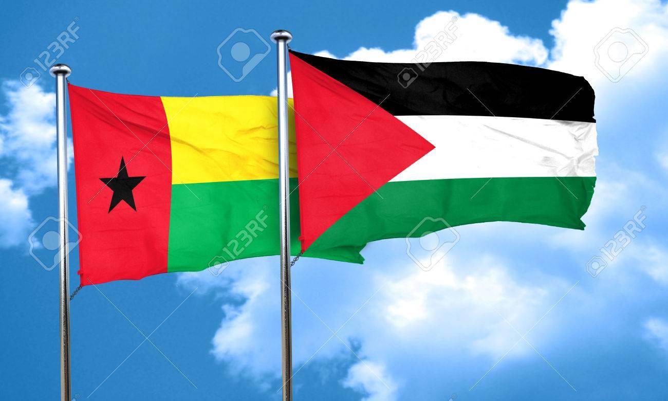 パレスチナの旗、3 D とギニア ...